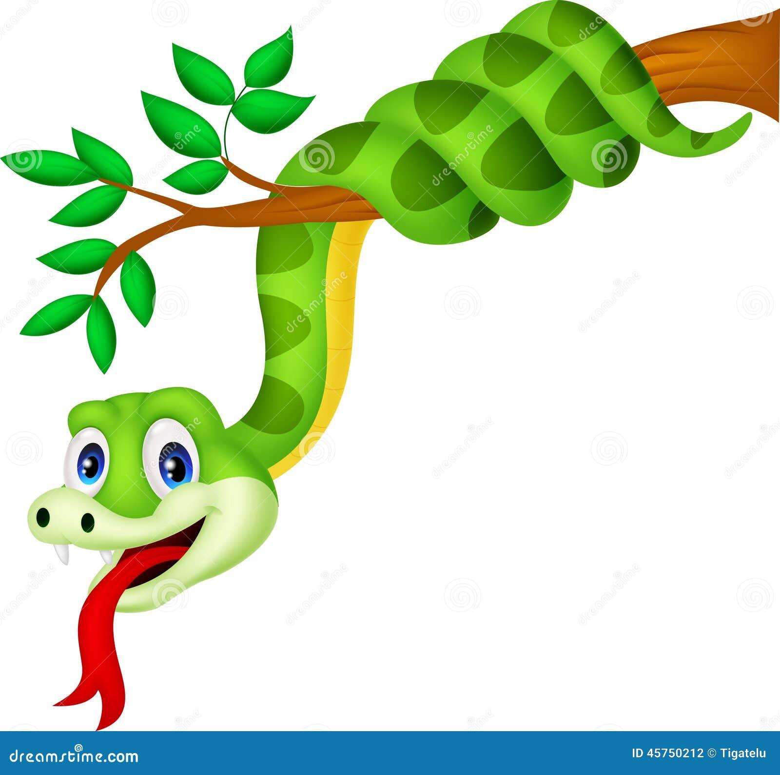 Serpente verde del fumetto sul ramo