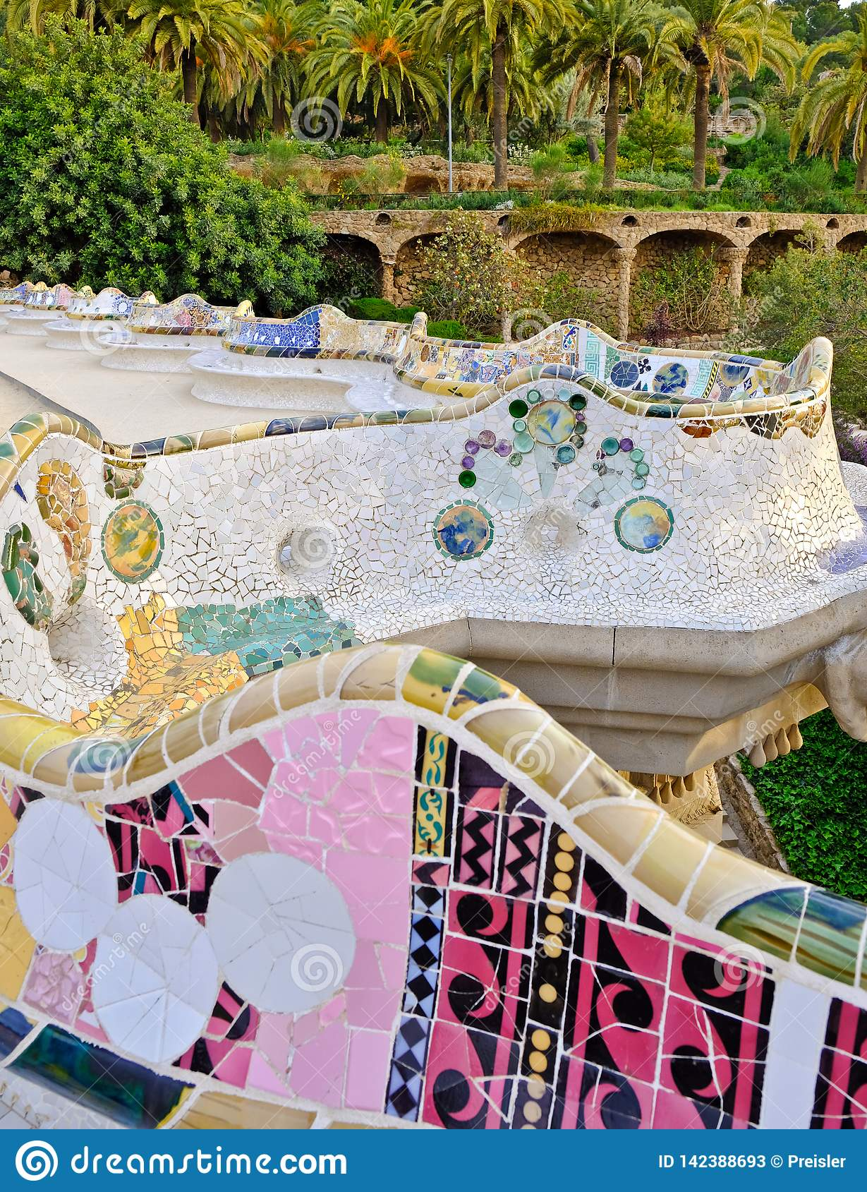 Amazing Serpentine Mosaic Bench Park Guell Barcelona Stock Image Ibusinesslaw Wood Chair Design Ideas Ibusinesslaworg