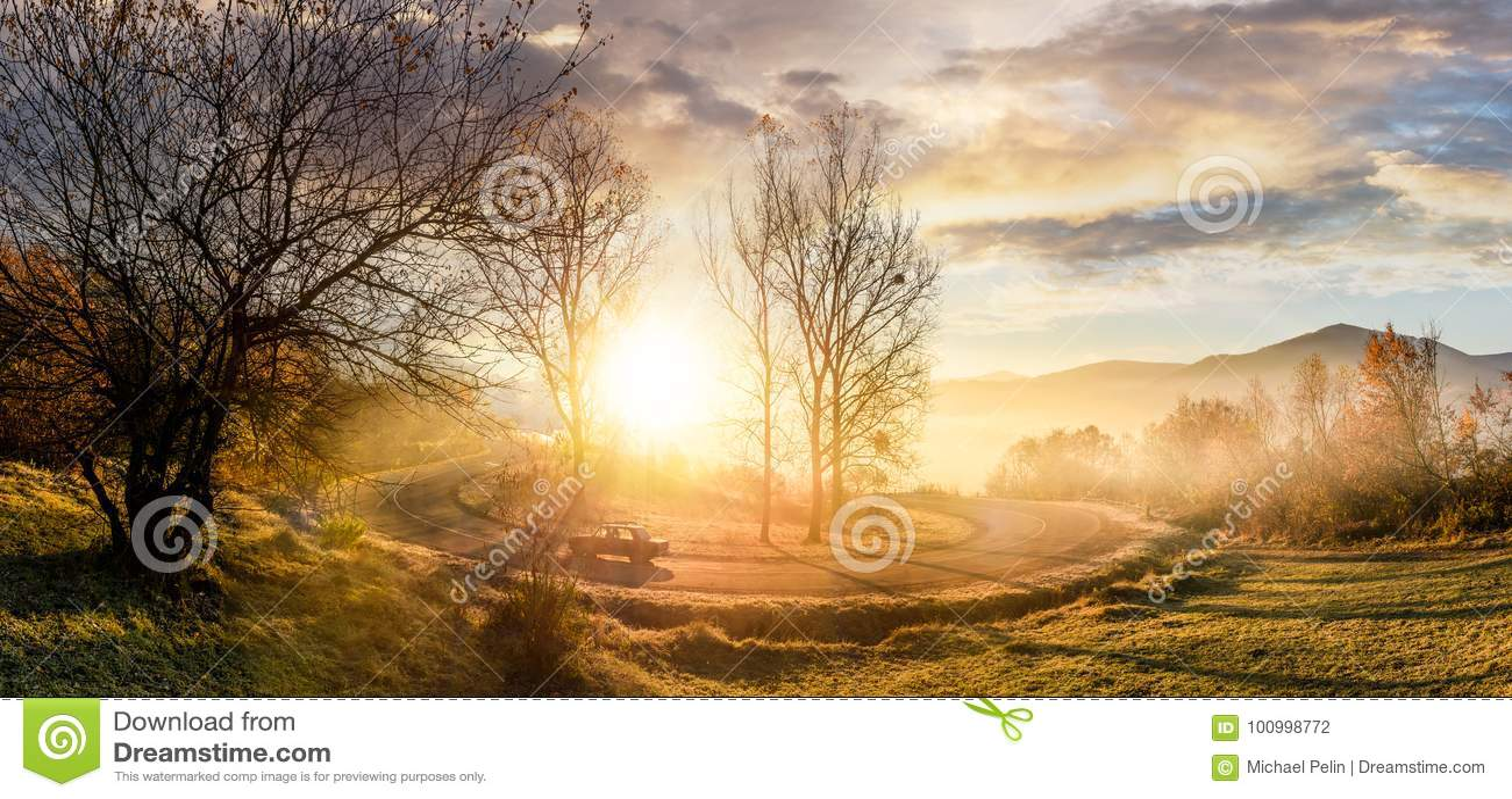 Serpentine turnaround on foggy sunrise