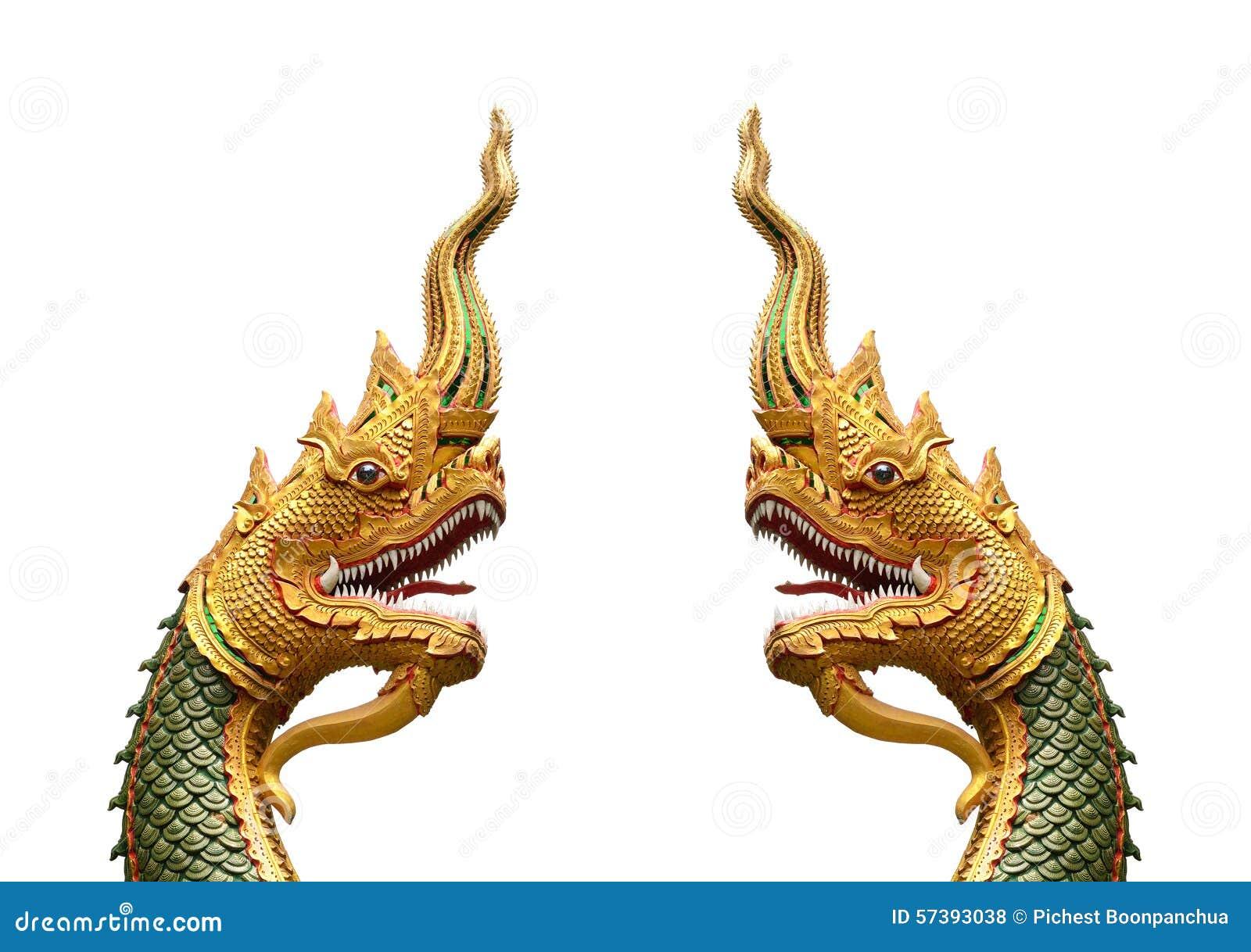Serpentkoning of koning van nagastandbeeld in Thaise die tempel op w wordt geïsoleerd