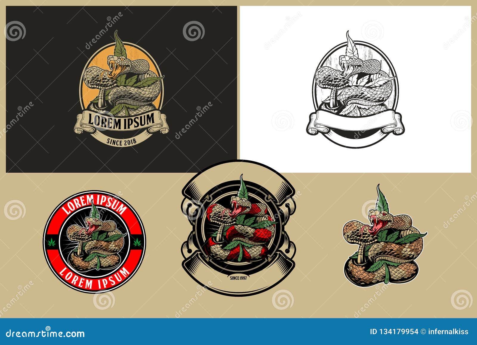 Serpiente con la plantilla del logotipo del vector de la hoja o del cáñamo de la marijuana