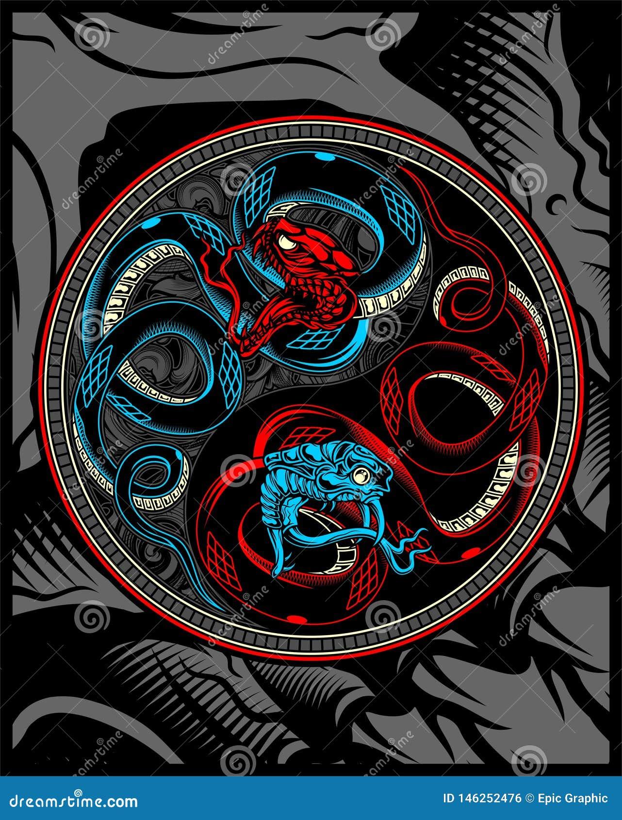 Serpiente gemela, serpiente ying el dibujo de la mano del vector de yang