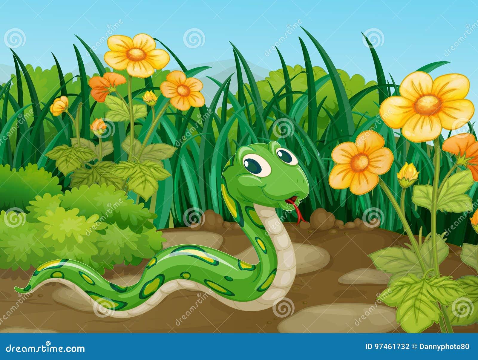 Serpiente verde en jardín
