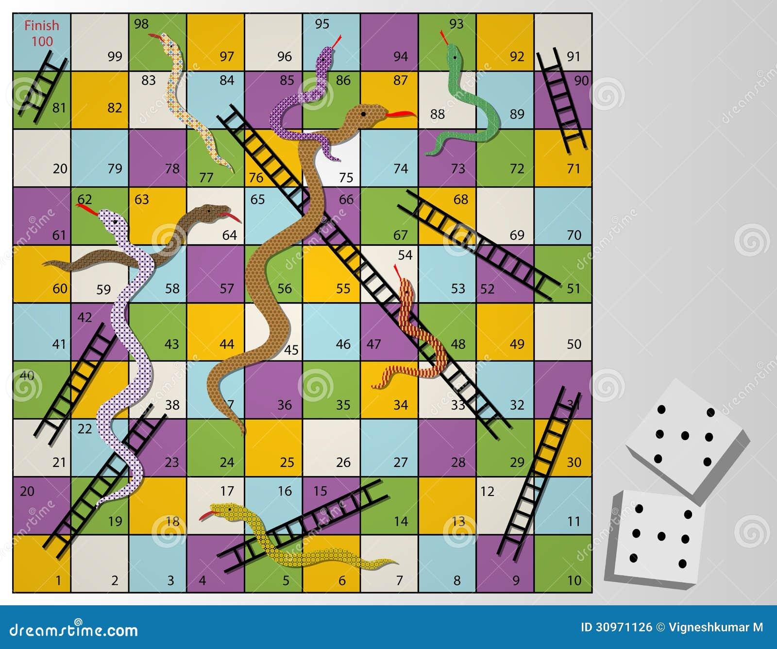 Serpientes Y Juego De Mesa De Las Escaleras Stock De Ilustracion