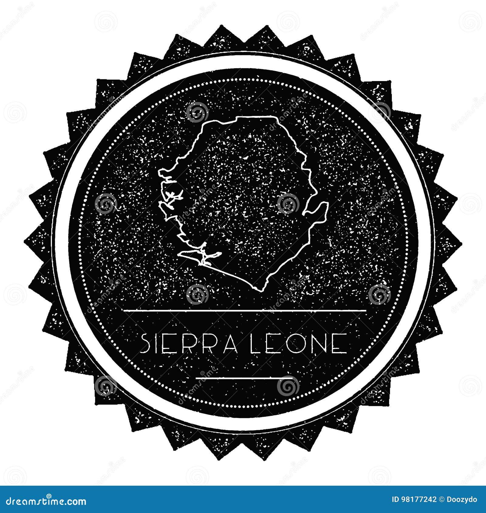 Serra Leone Map Label com o vintage retro denominado