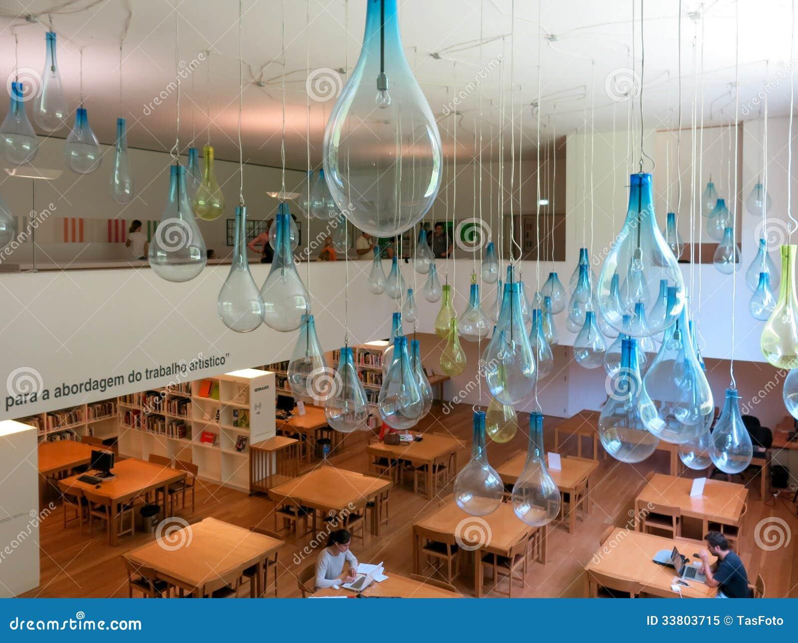 Library and mezzanine in museum of contemporary art serralves in porto