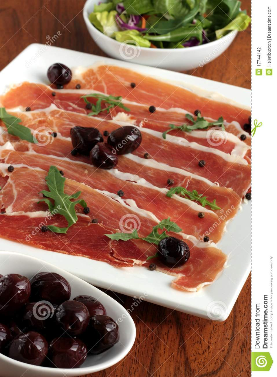 Serrano Ham and Olives Appetizer