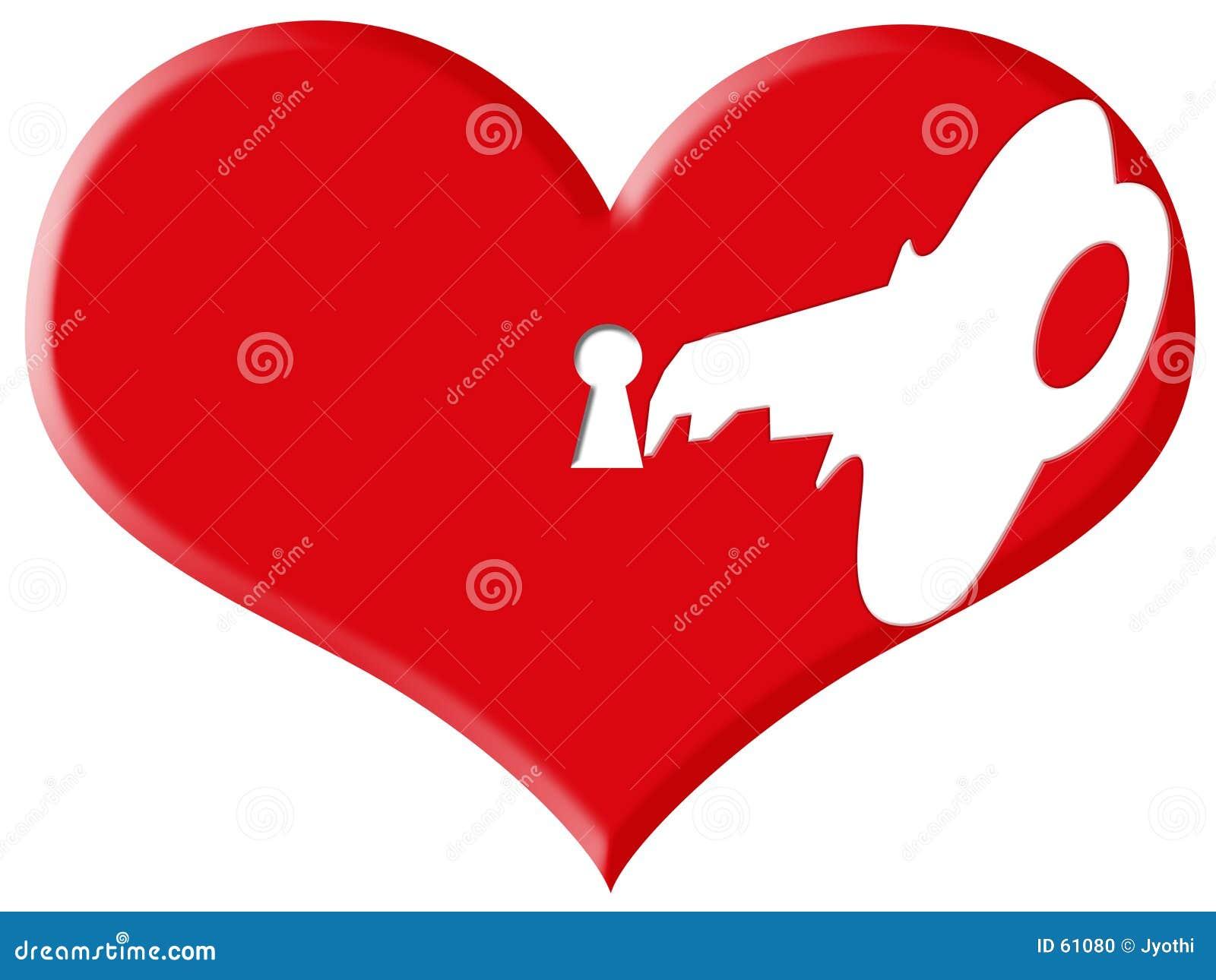 Serratura e tasto di amore