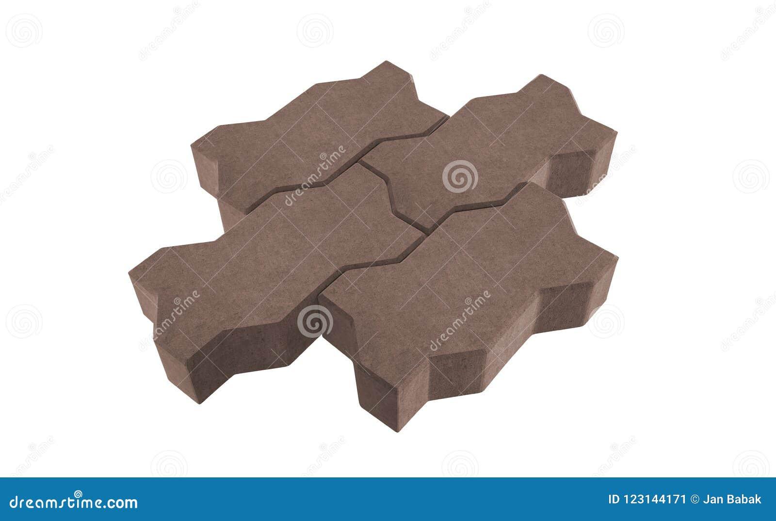 Serrure trois brune pavant des briques D isolement sur le fond blanc