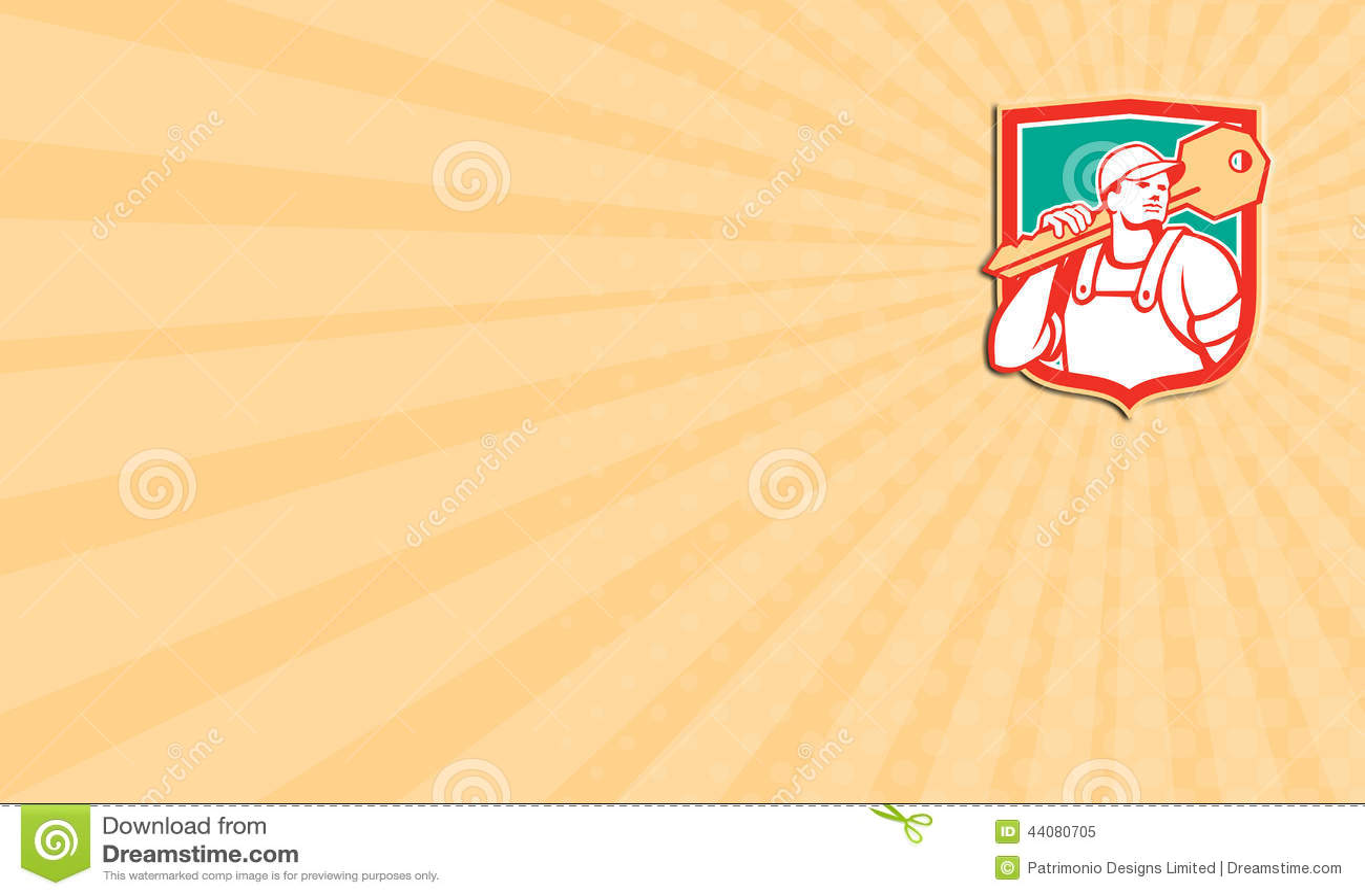 Carte De Visite Professionnelle Montrant Lillustration Dun Serrurier Se Tenant Regardant A La Cle Transport Laterale Sur Lensemble Depaule