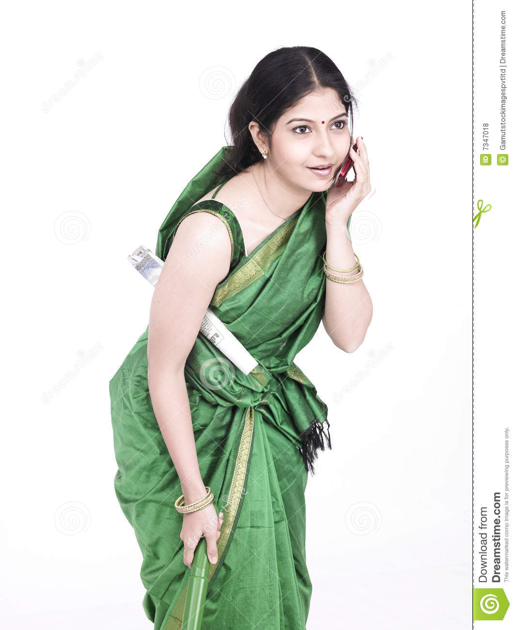 servant maid speaking on cell royalty free stock photos
