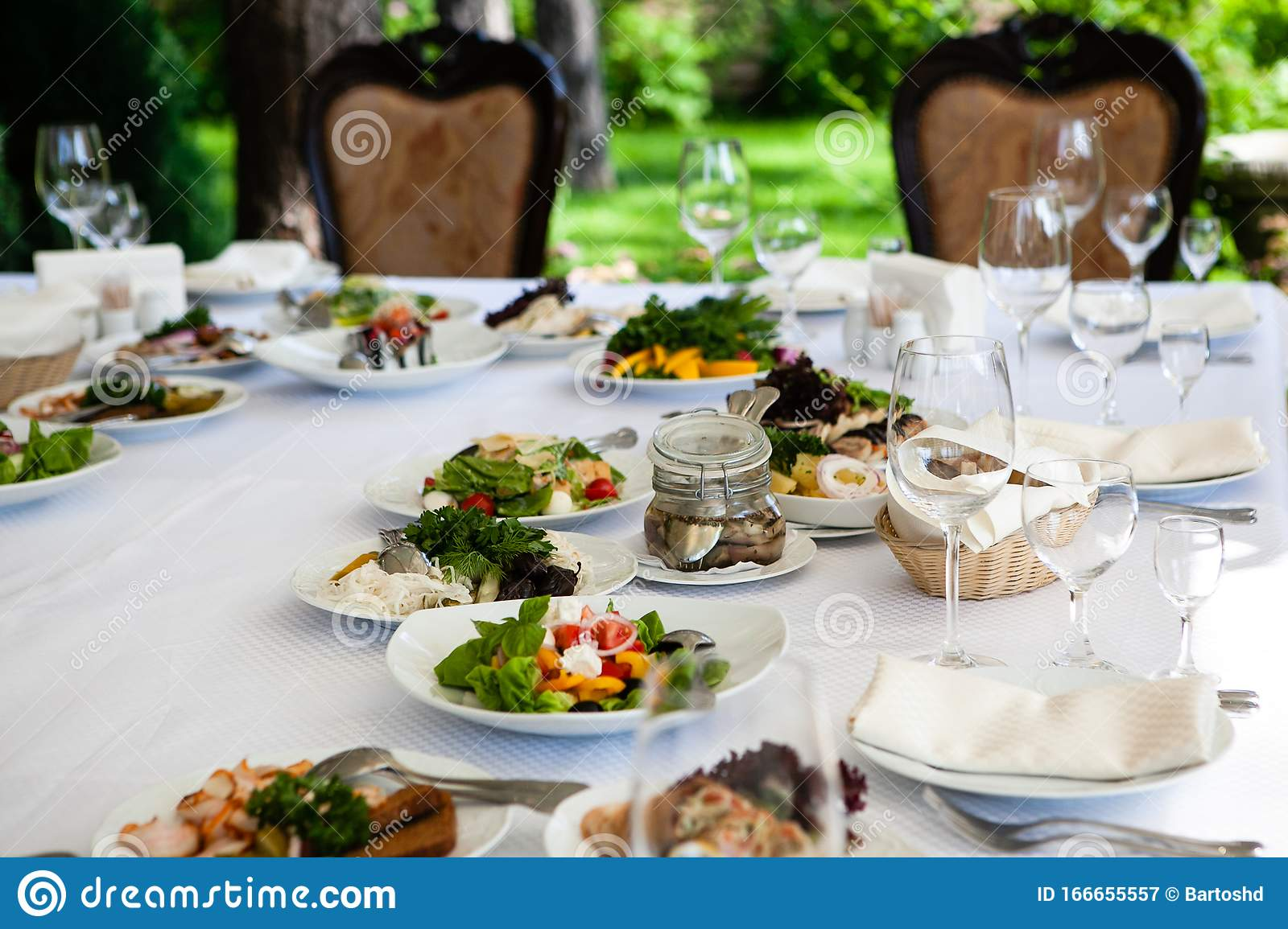 Served For Banquet Restaurant Table With Dishes Snack Wine