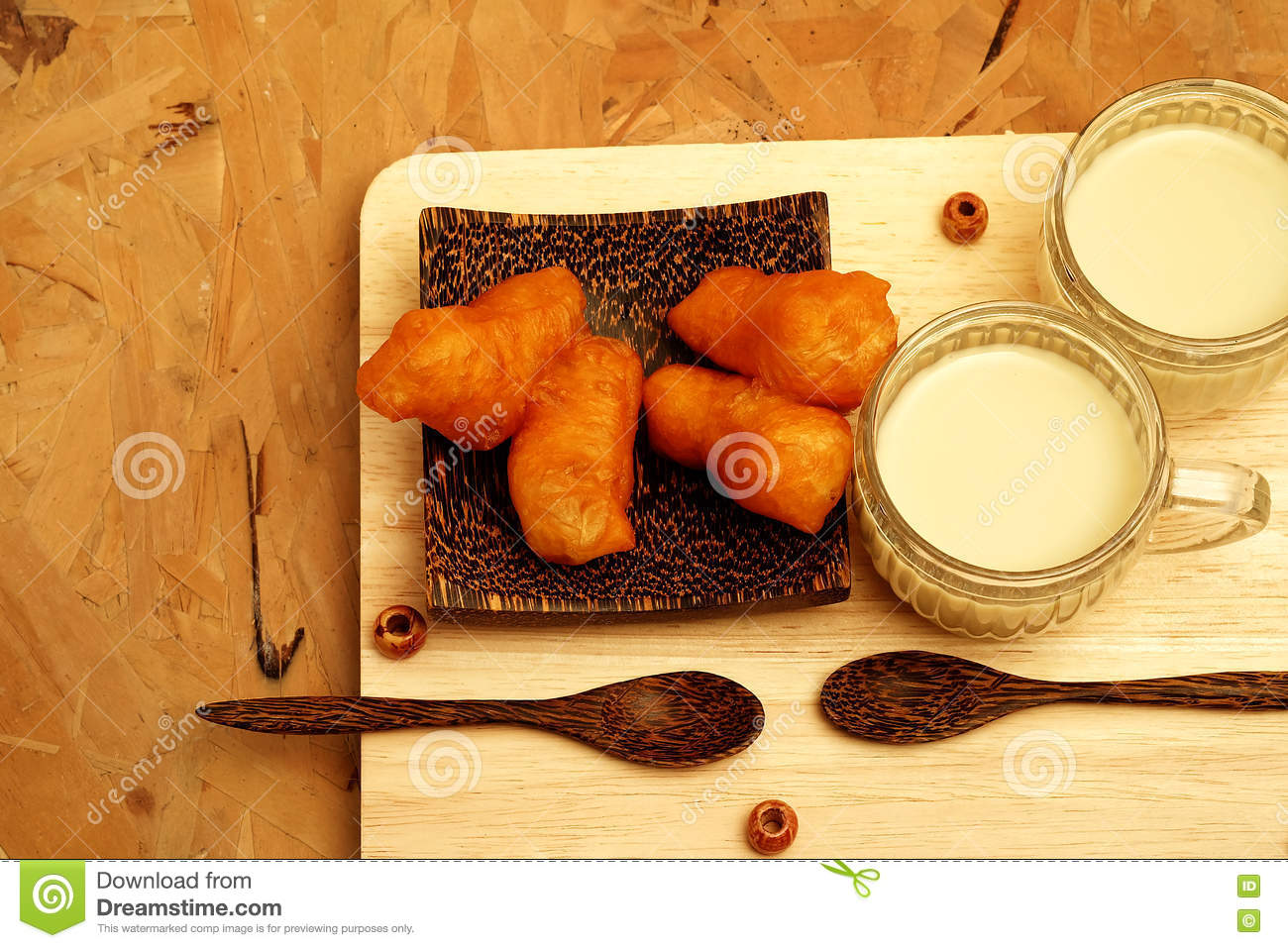 Served Breakfast With Deep-fried Dough Stick And Soybean Milk In The