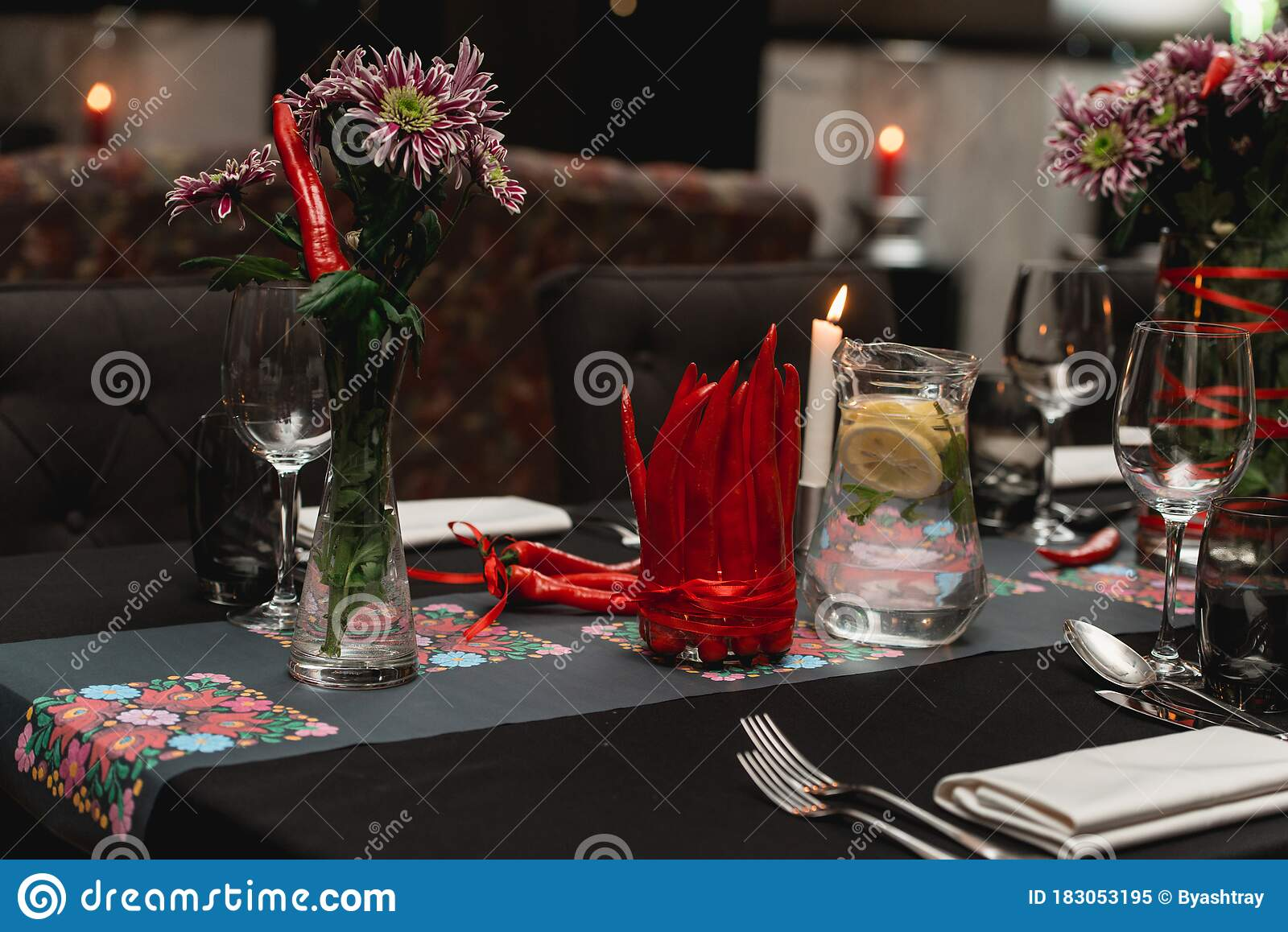 Served Restaurant Table Red Pepper Decoration On A Black Tablecloth Stock Image Image Of Fine Cutlery 183053195