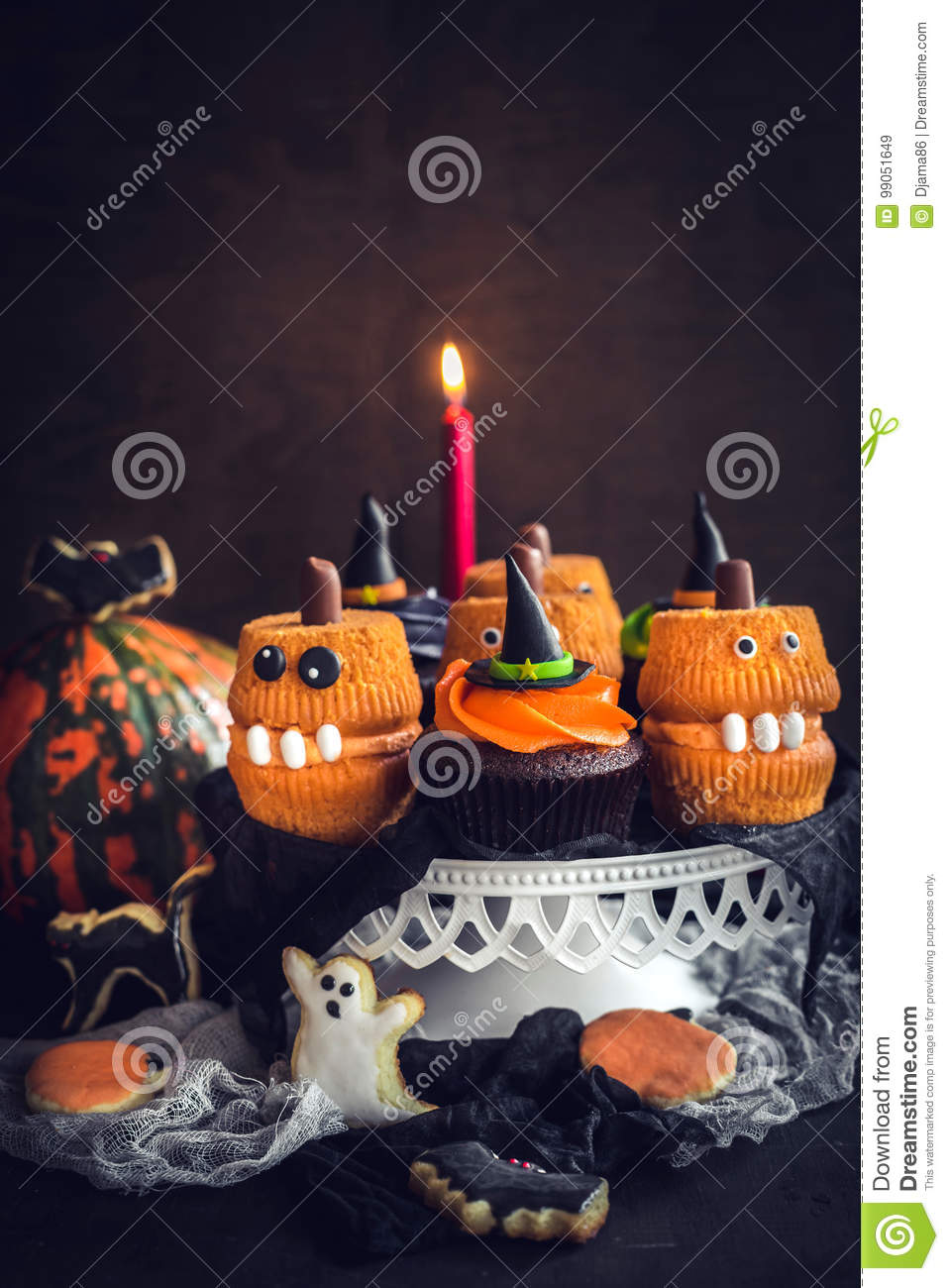 Remarkable Scary Halloween Cup Cakes Stock Image Image Of Decoration 99051649 Personalised Birthday Cards Epsylily Jamesorg