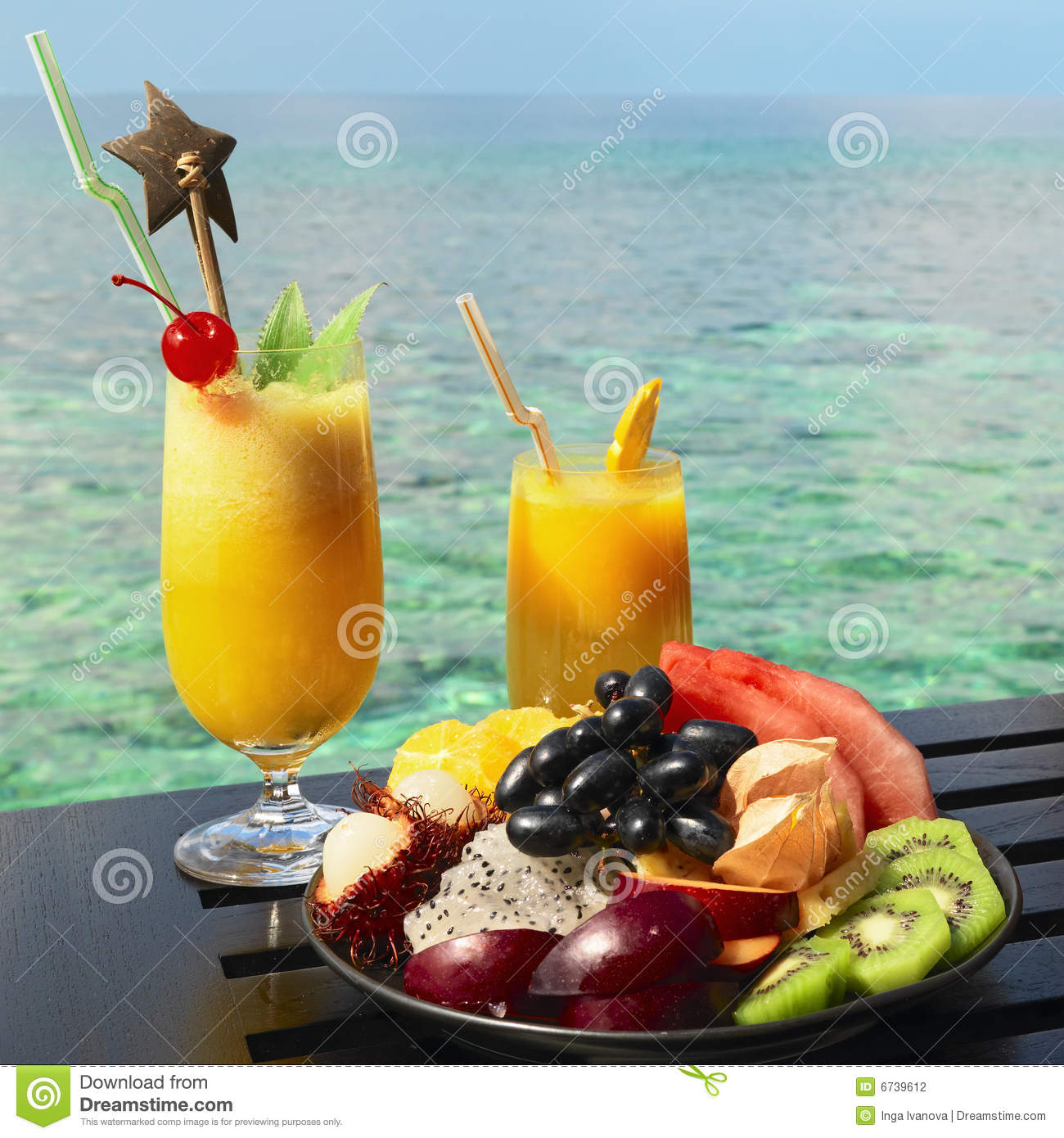 Served table at tropical resort