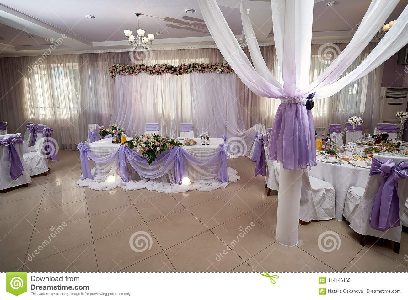 Served Tables In Restaurant For Wedding Reception Stock Image