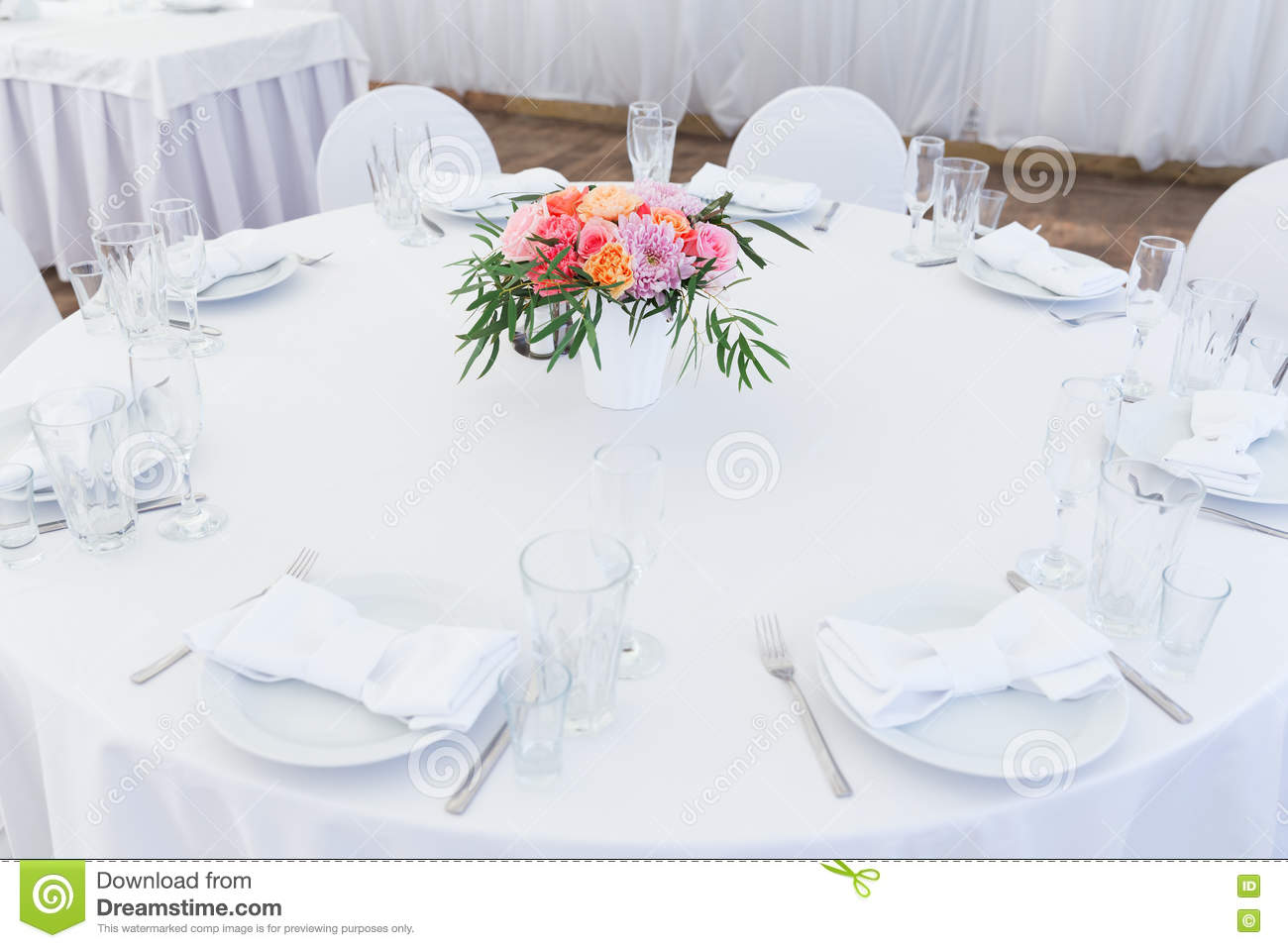 Served White Wedding Table Layout Stock Image Image Of Catering
