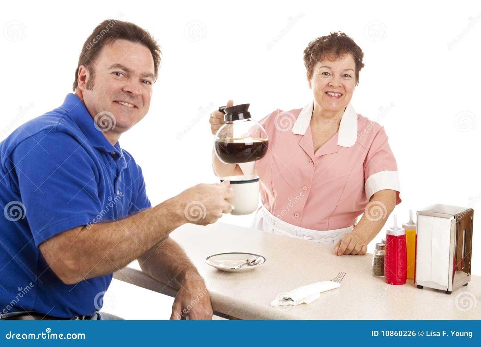 Serveerster en Klant in Diner
