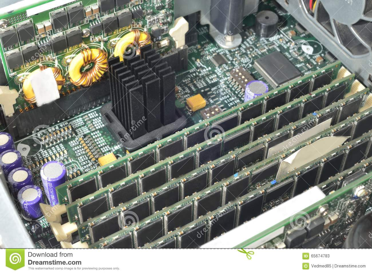 Server Green Motherboard Stock Image Of Random 65674783 Printed Circuit Board Throughhole Technology Royalty Free Photo