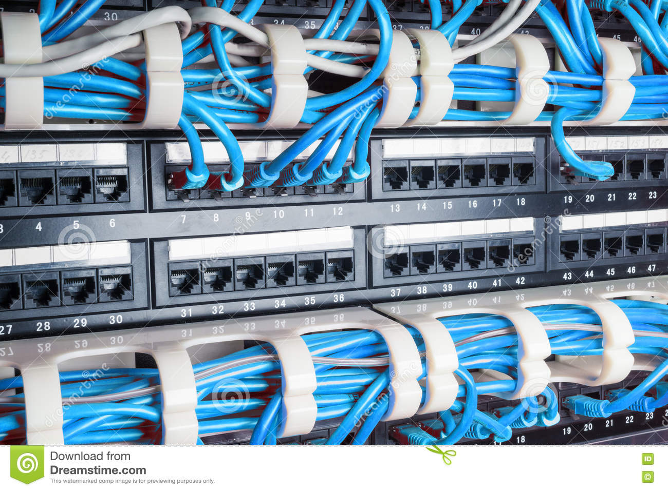 Server Rack With Blue Cables Stock Image Of Hardware Cable Internet Wiring