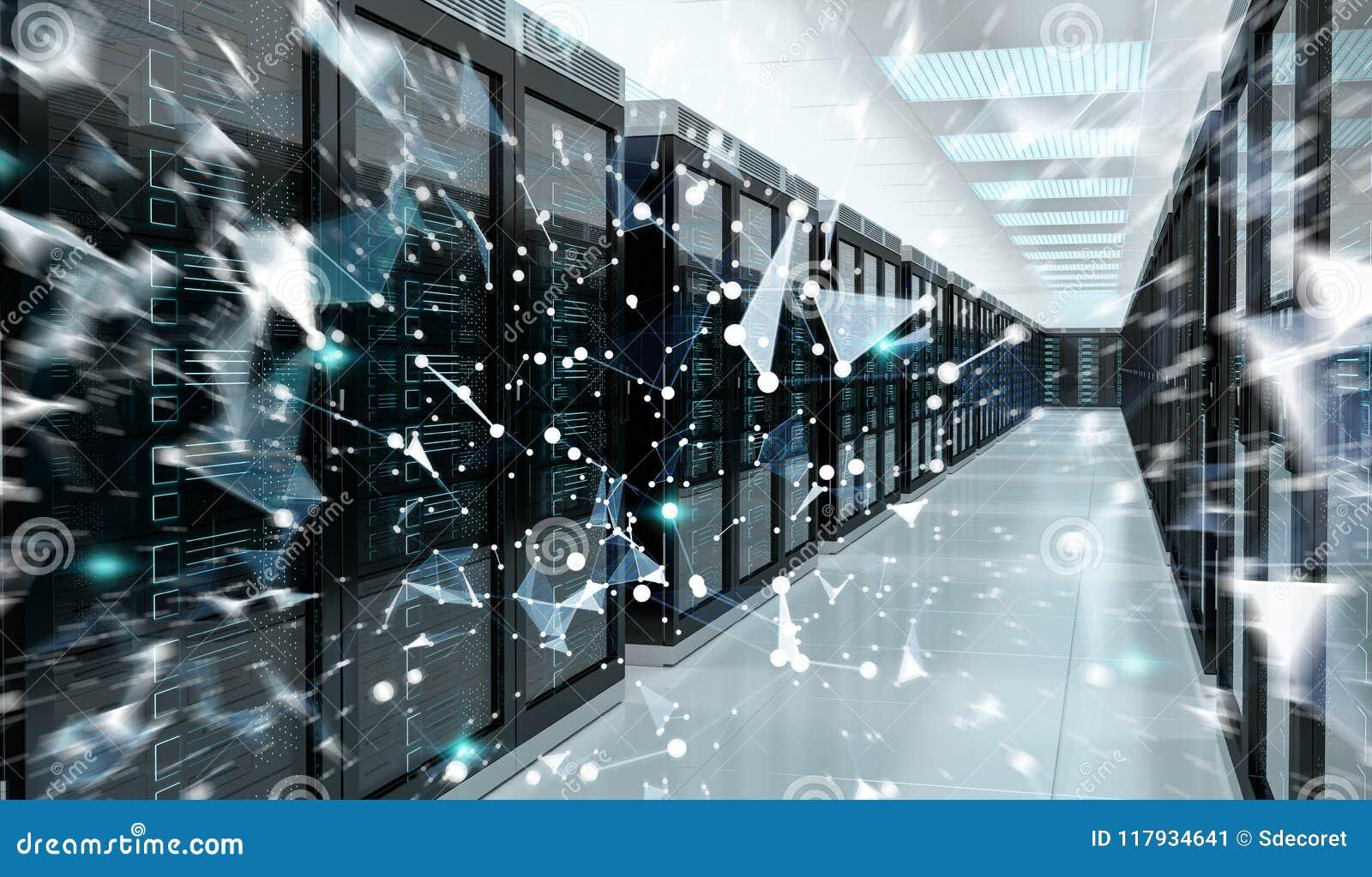 Server room center exchanging cyber datas 3D rendering