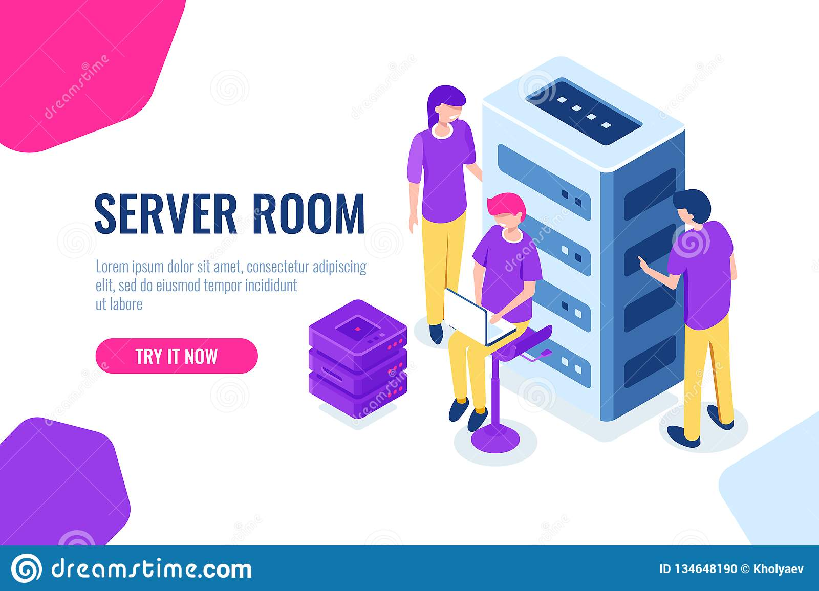 Server room isometric, datacenter and database, working on a common project, teamwork and collaboration, maintain