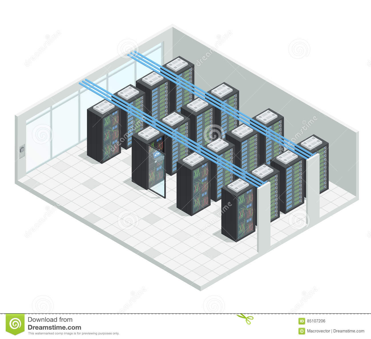 Server Room Isometric Interior Stock Vector Illustration Of Graphic Interface 85107206