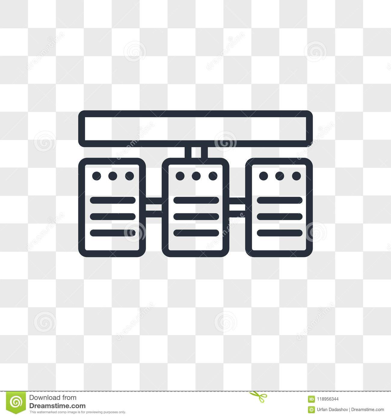 Server Stack Vector Icon Isolated On Transparent Background Server