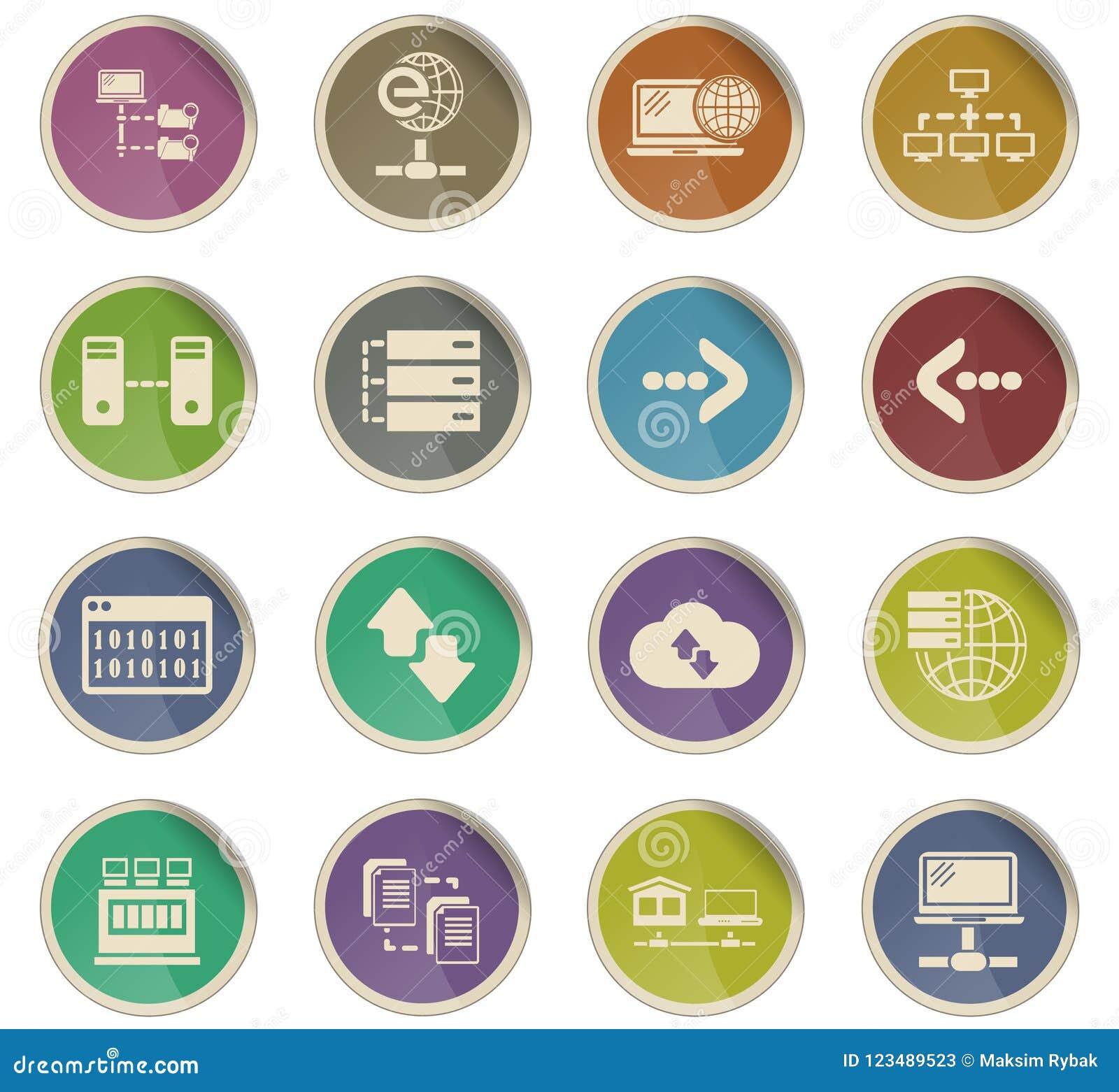 Server icon set stock vector  Illustration of internet