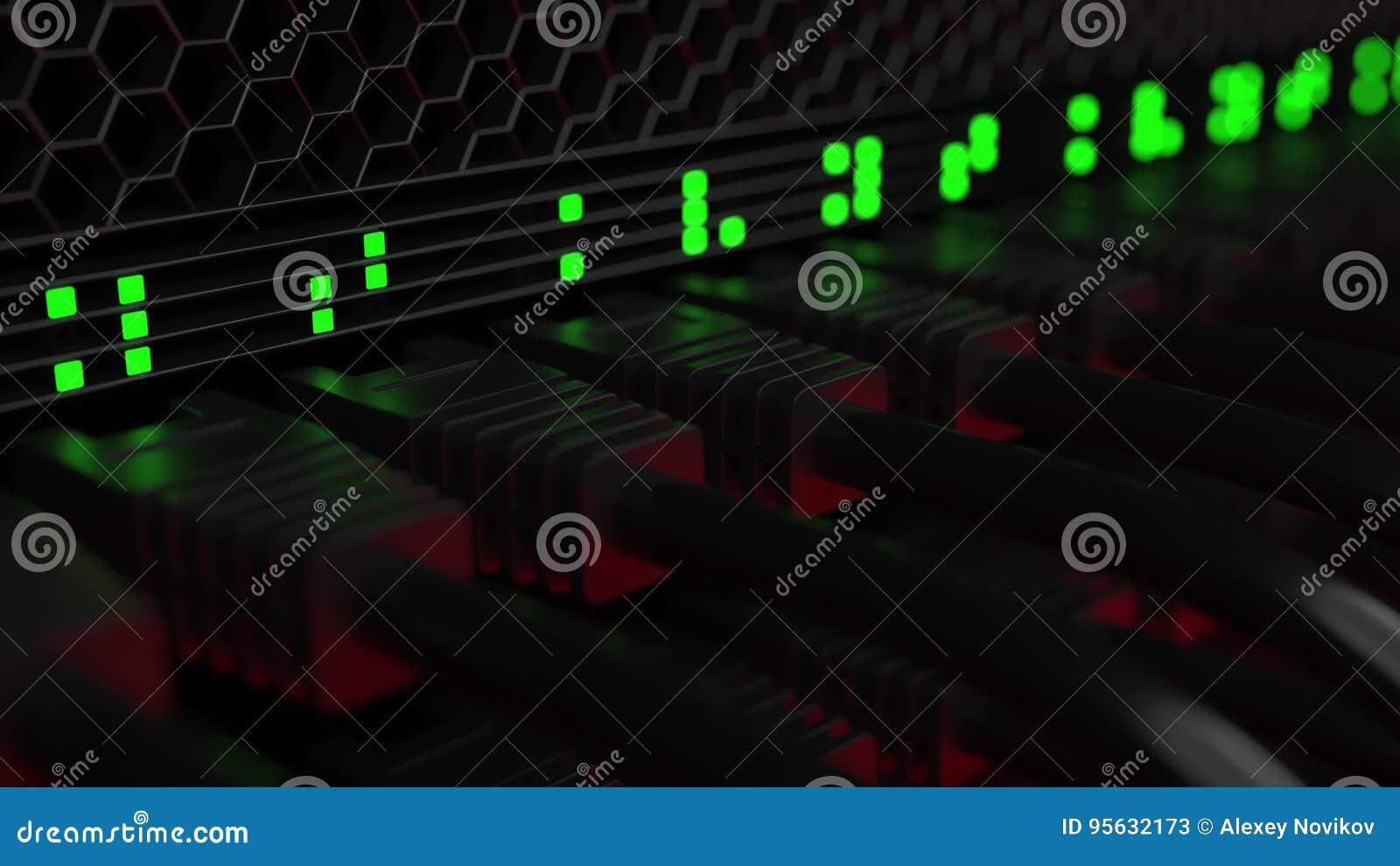 Serverkabel und Blinkenlampen Wolkentechnologie oder moderne Unternehmensnetzwerkausrüstungskonzepte Wiedergabe 3d