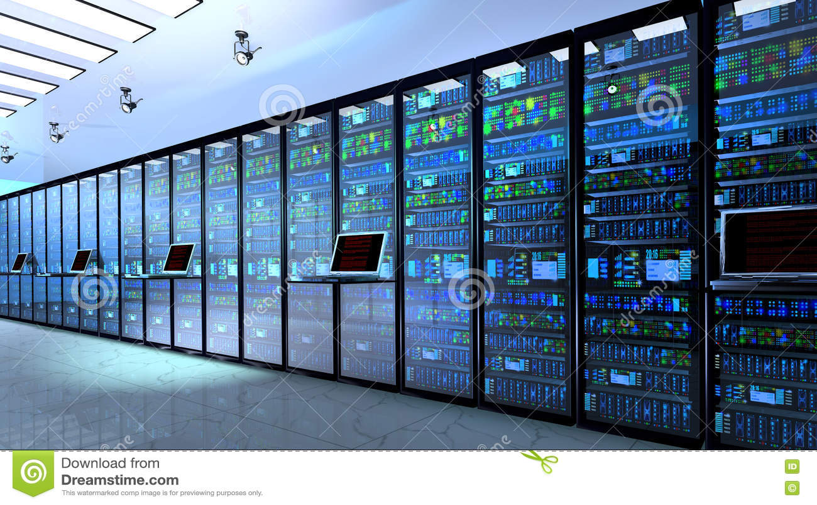 Serverraum im datacenter, Raum ausgerüstet mit Datenservern