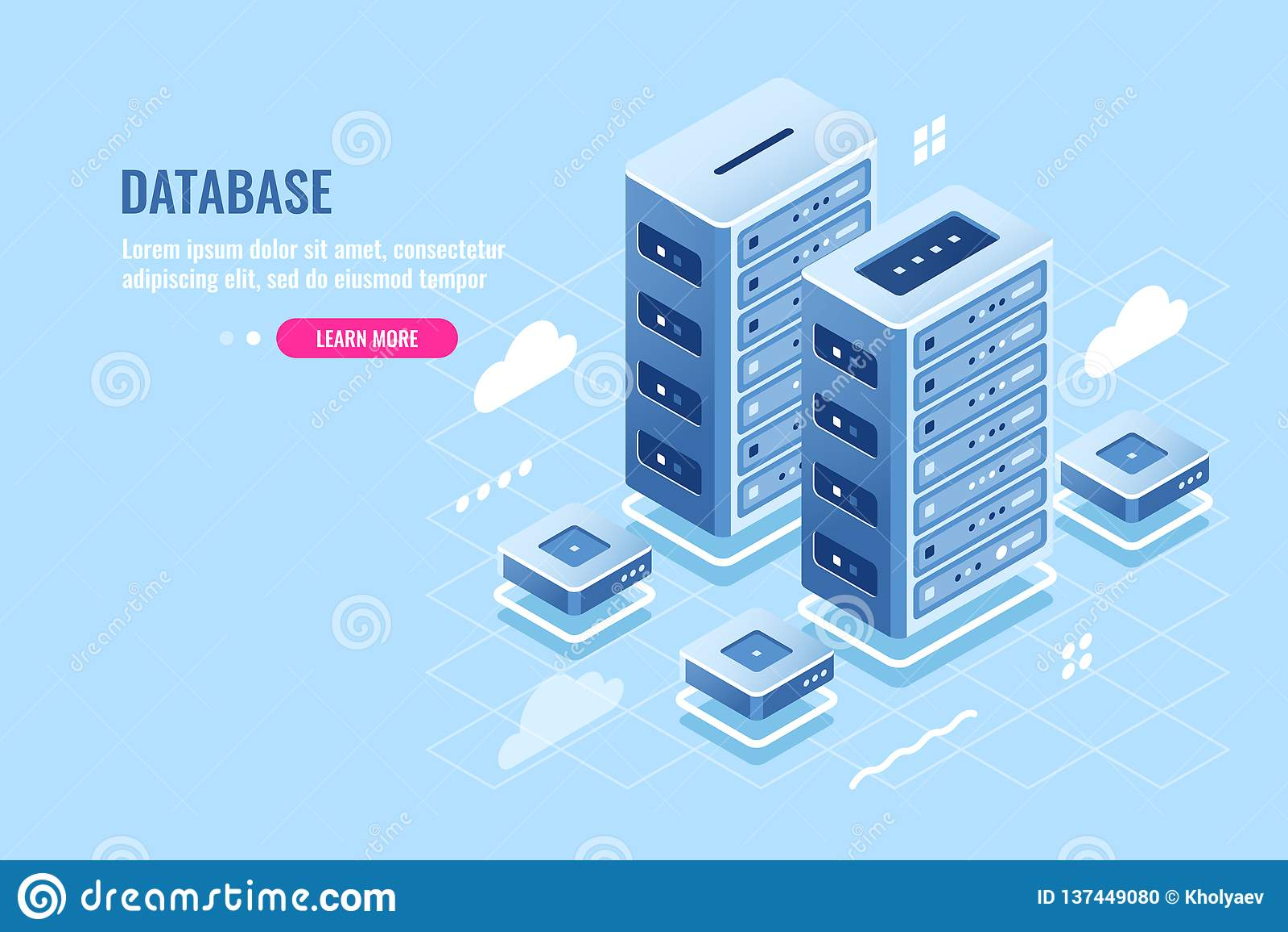 Serverruimte, website het ontvangen, wolkenopslag, database en datacentrum isometrisch pictogram, blockchain digitale technologie
