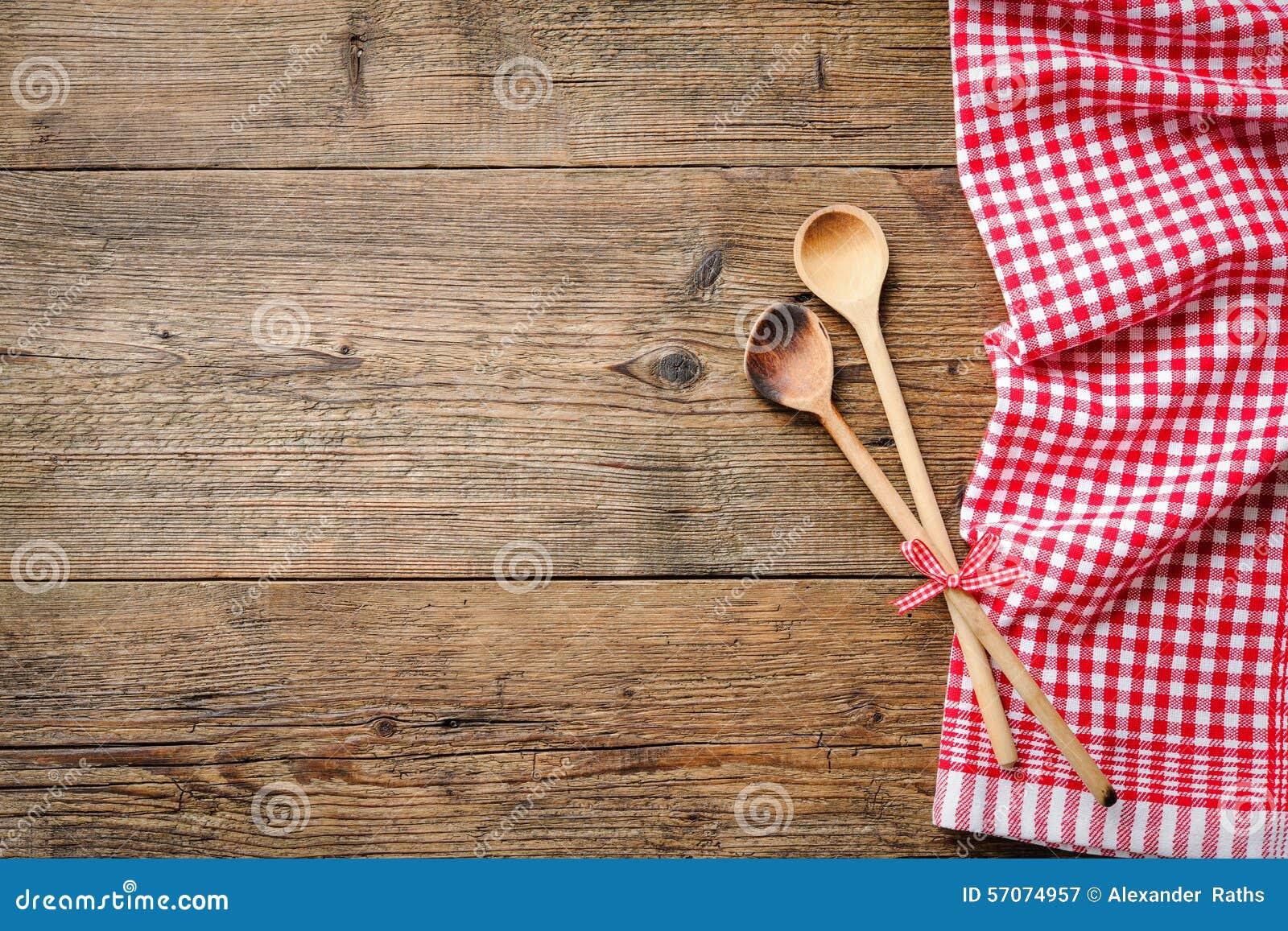 Servet met houten lepel