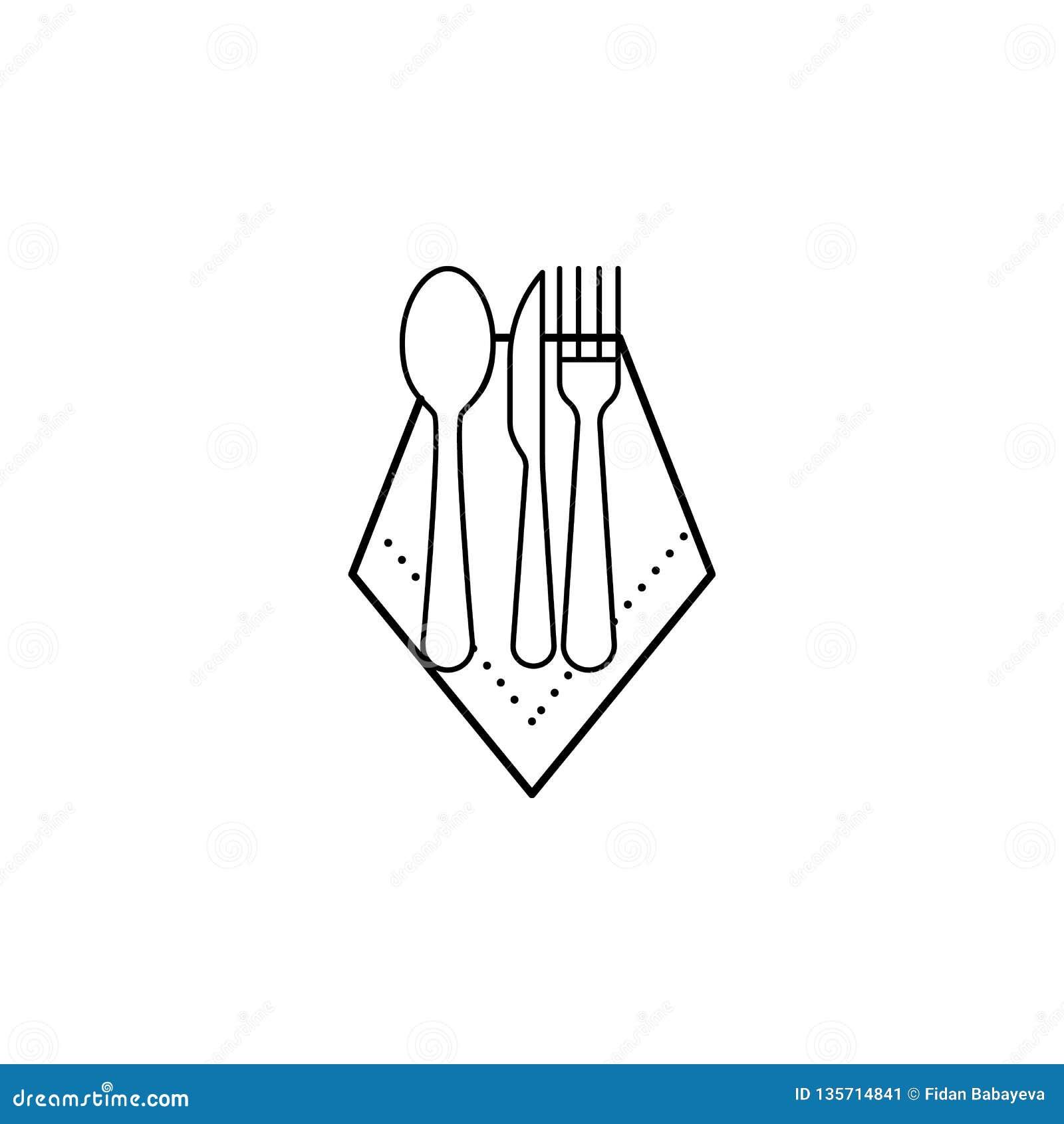 Servett sked, kniv, gaffelsymbol Kan användas för rengöringsduken, logoen, den mobila appen, UI, UX