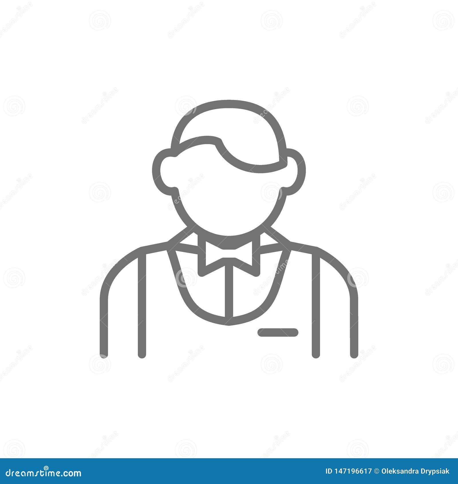 Serveur, barman, ligne icône de sommelier
