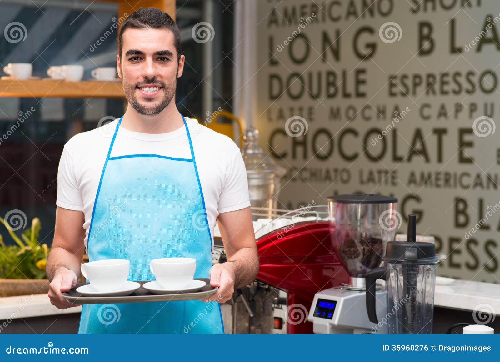 Serveur beau photo stock image du tablier caf personne for Job serveur