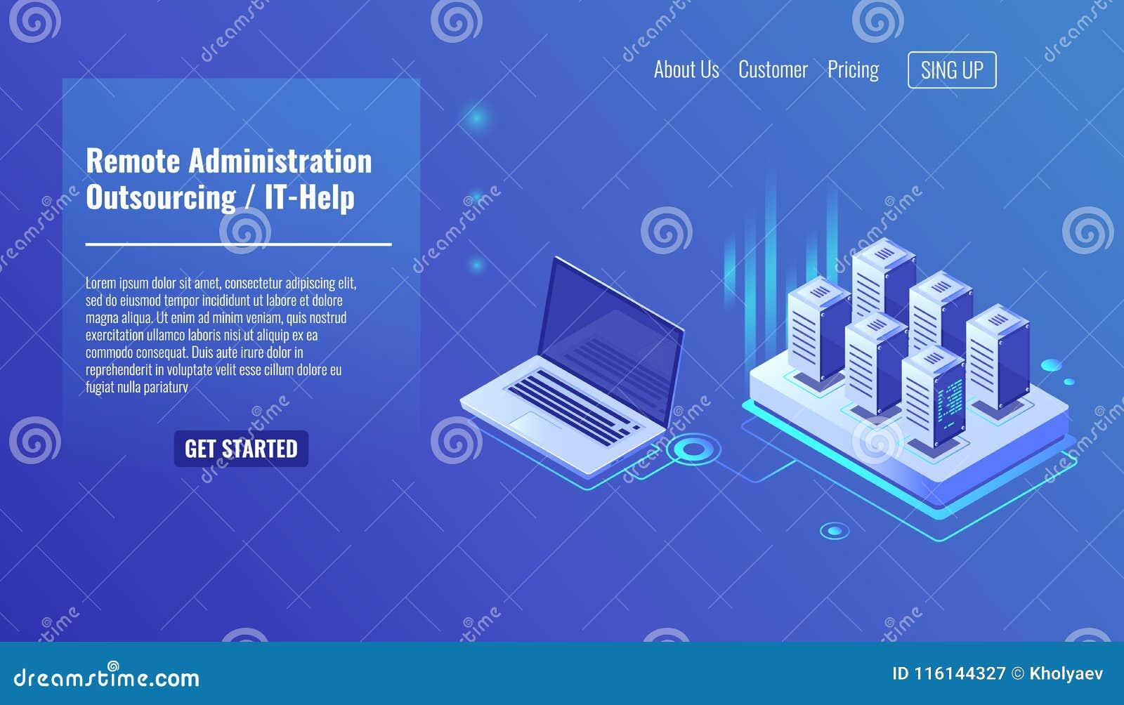 Serviço da administração remota, conceito de externalização, ele ajuda, cremalheira da sala do servidor, vetor isométrico da perg