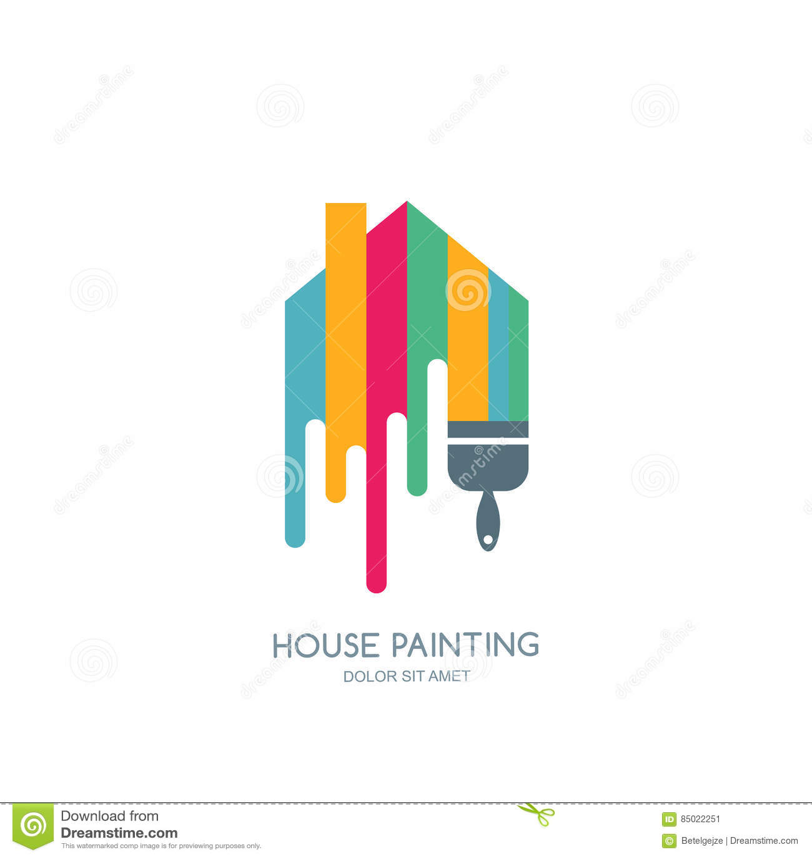 servio da pintura de casa decorao e cone do reparo logotipo do vetor
