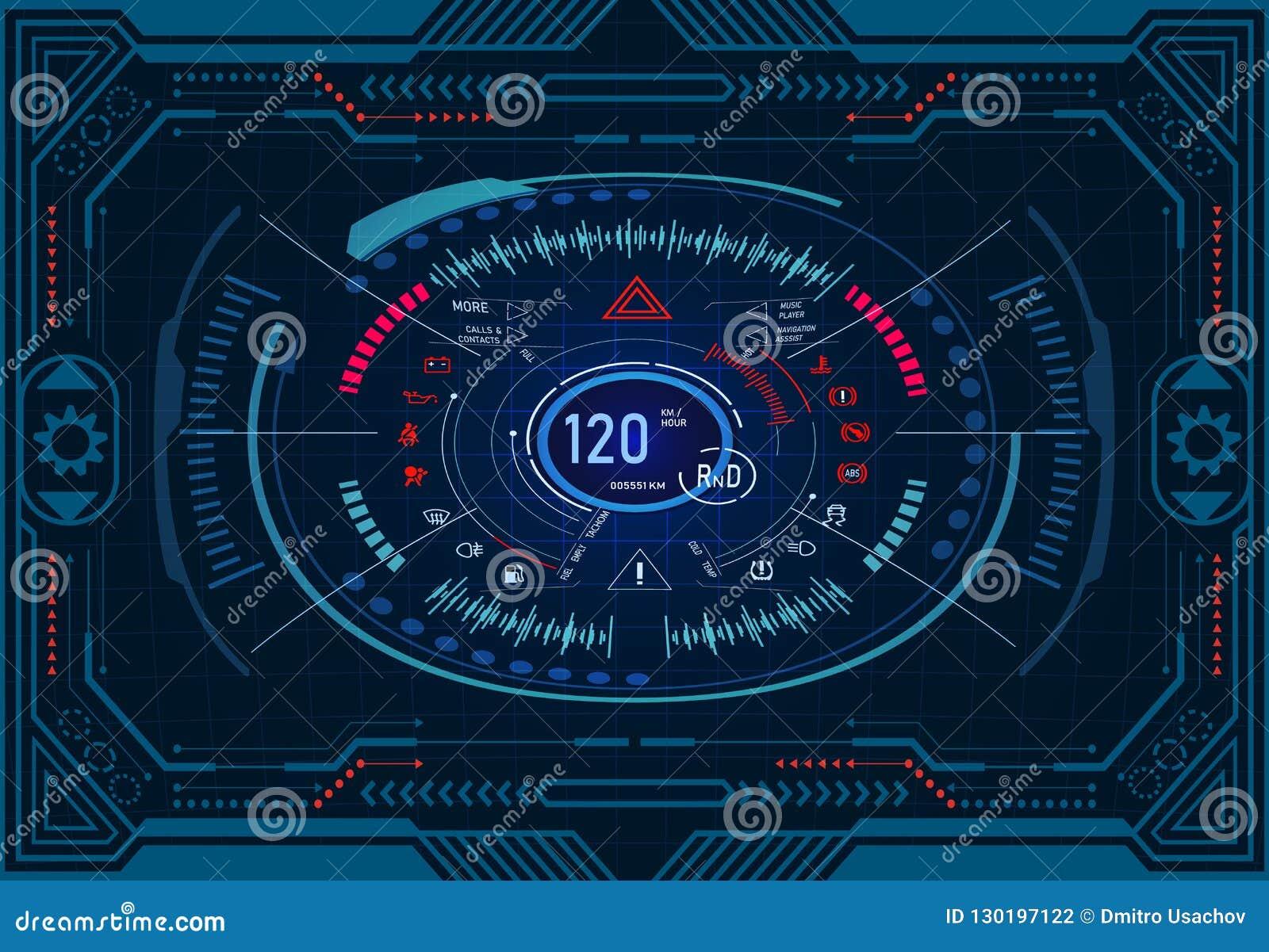 Serviço do carro Projeto futurista do painel em um monitor gráfico no quadro Velocímetro, tacômetro GUI HUD Illustration