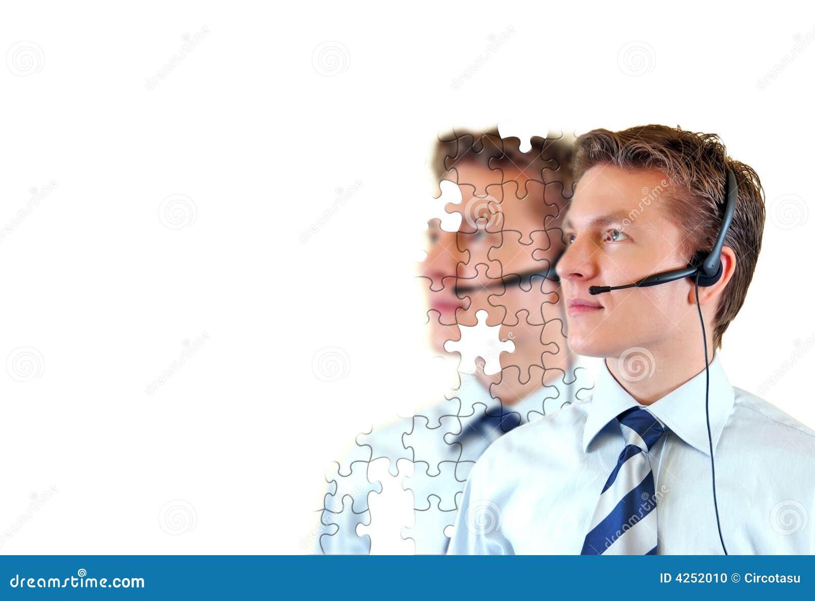 Serviço masculino do apoio a o cliente