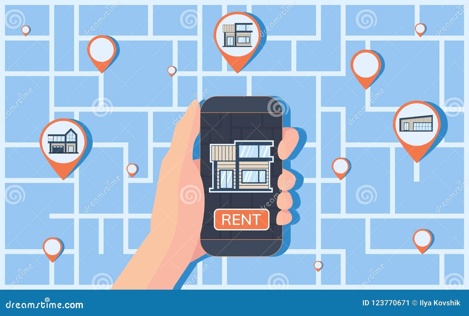 Serviço online para encontrar, registro e alojamento do aluguer Mapa com marcas do geolocation no fundo