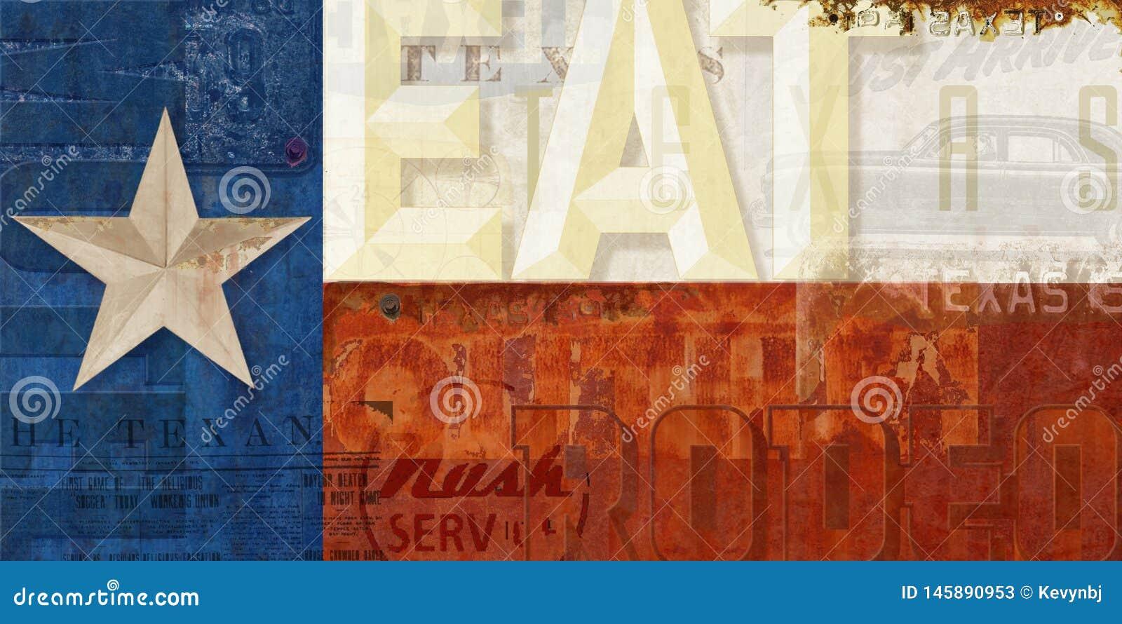 Serviço Route 66 do motel de Texas Flag Grunge Eat Rodeo