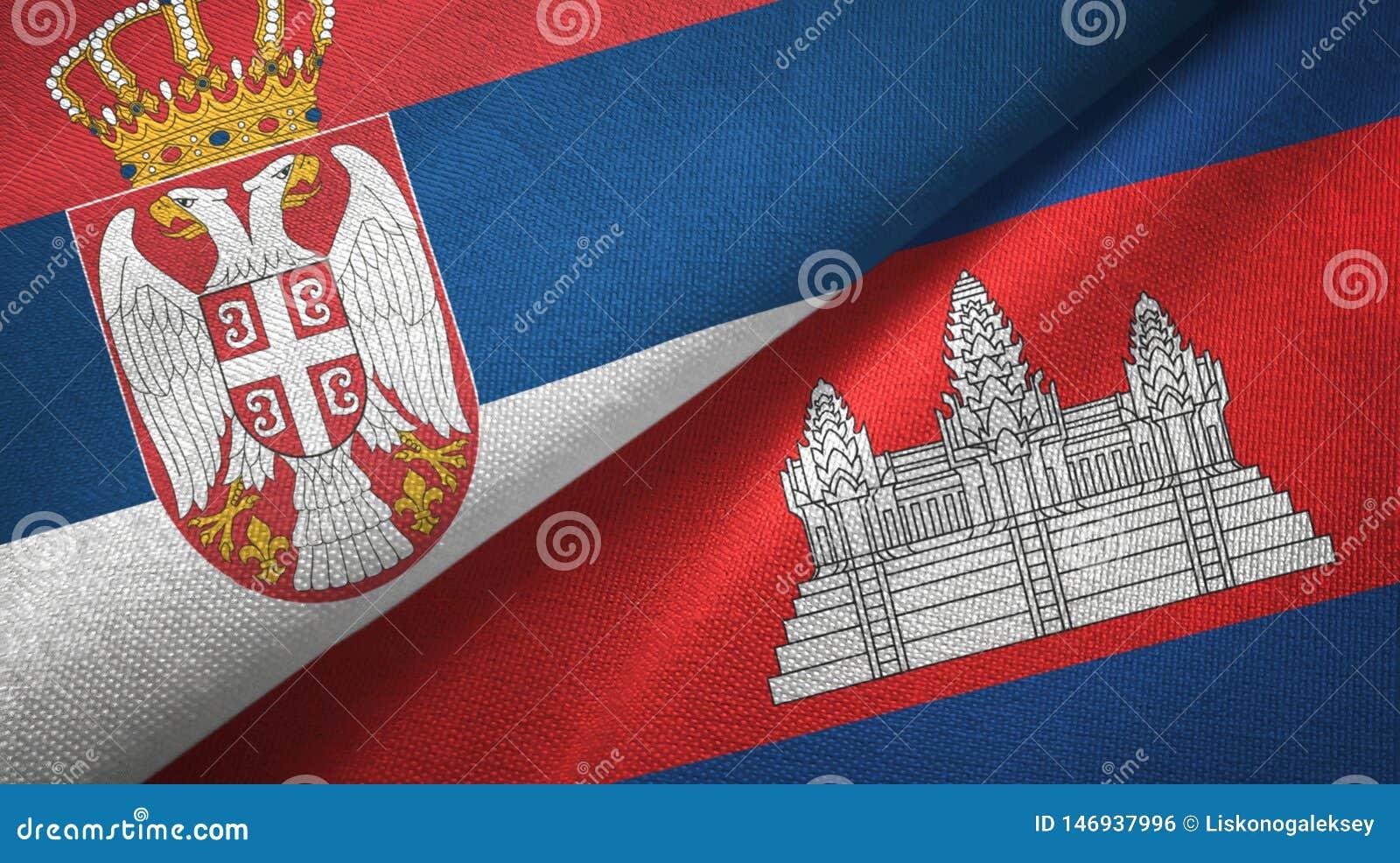 Servië en Kambodja twee vlaggen textieldoek, stoffentextuur