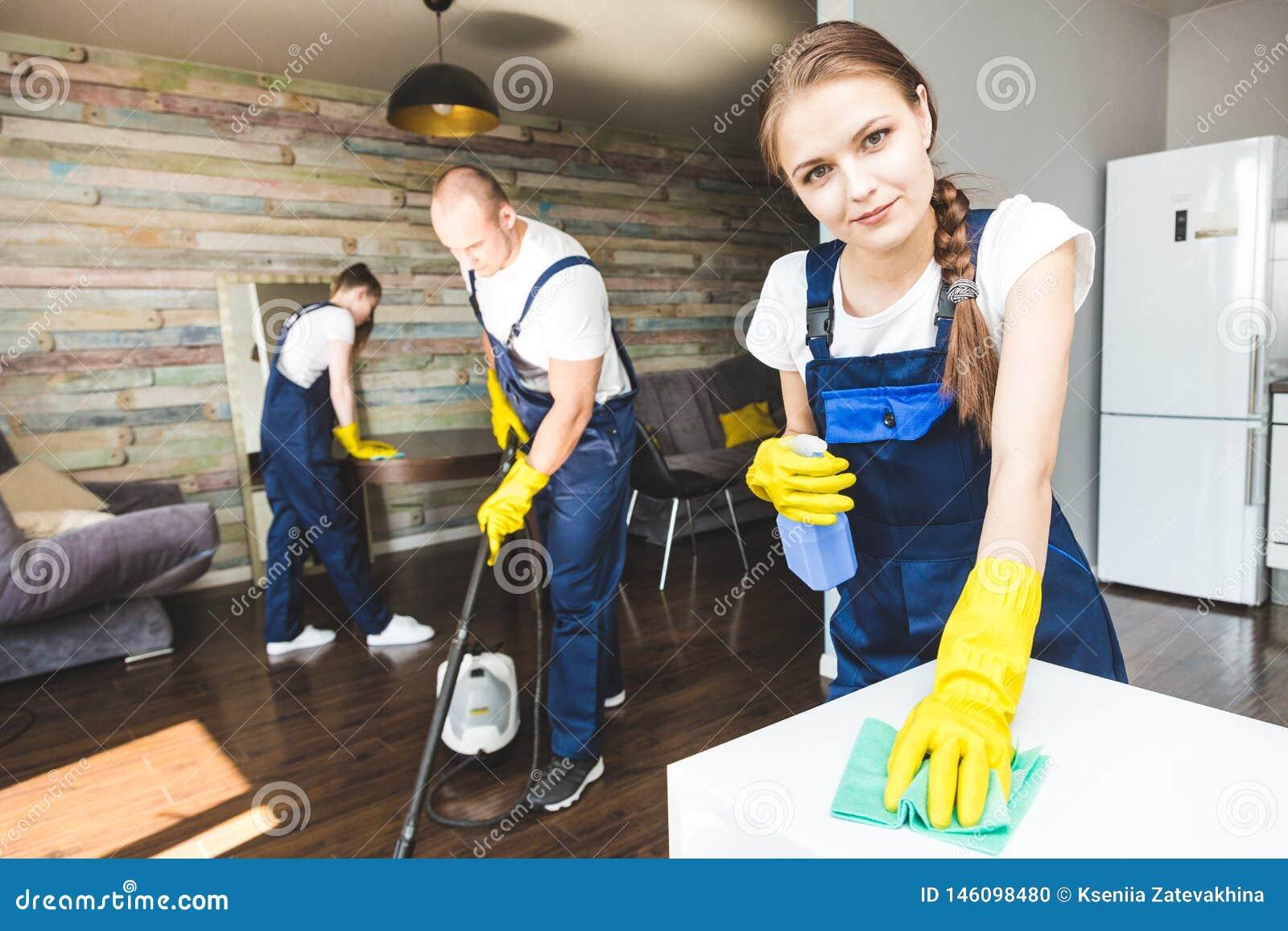Servi?o da limpeza com equipamento profissional durante o trabalho limpeza profissional do kitchenette, tinturaria do sof?, janel
