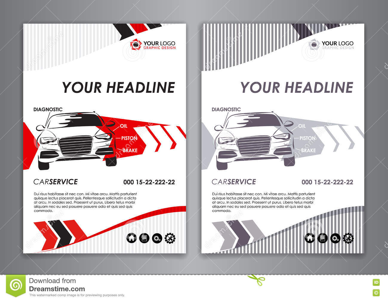 A5 a4 service car business card template auto repair for Car brochure template