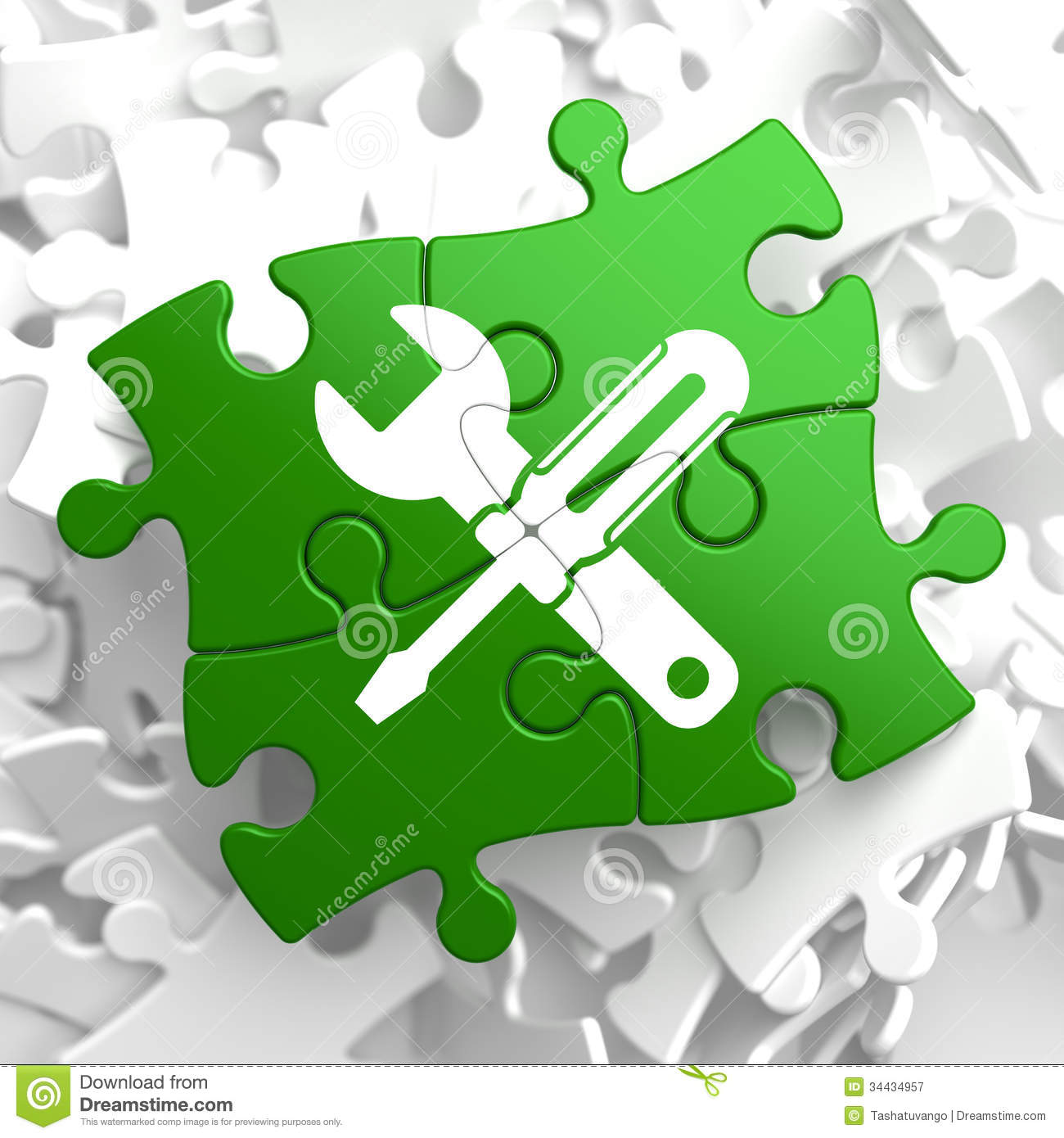 Service Concept On Green Puzzle Pieces  Stock Illustration