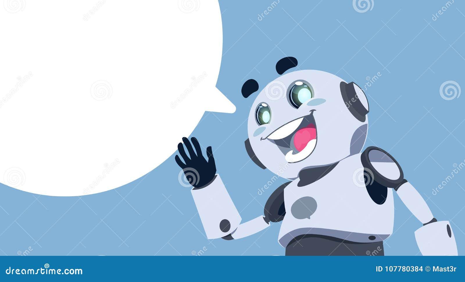 Service de Chatbot de bulle de causerie de robot mignon, broutement ou concept blanc du support technique APP de Chatterbot