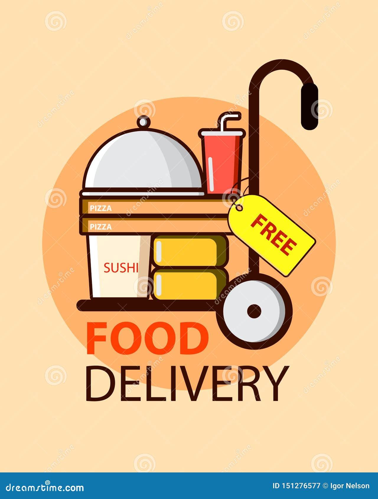 Service de distribution libre de nourriture dans le style plat avec les boîtes, la pizza et les sushi à nourriture Conception d i