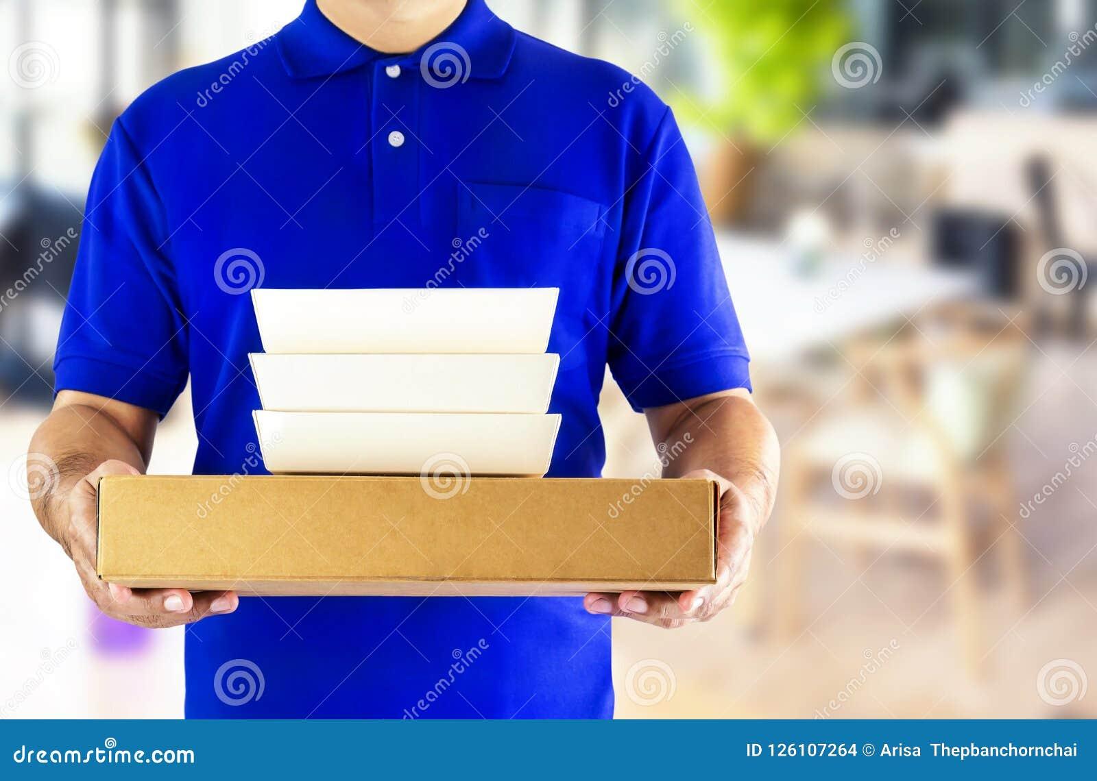 Service de distribution de nourriture ou nourriture d ordre en ligne Livreur dans le bleu